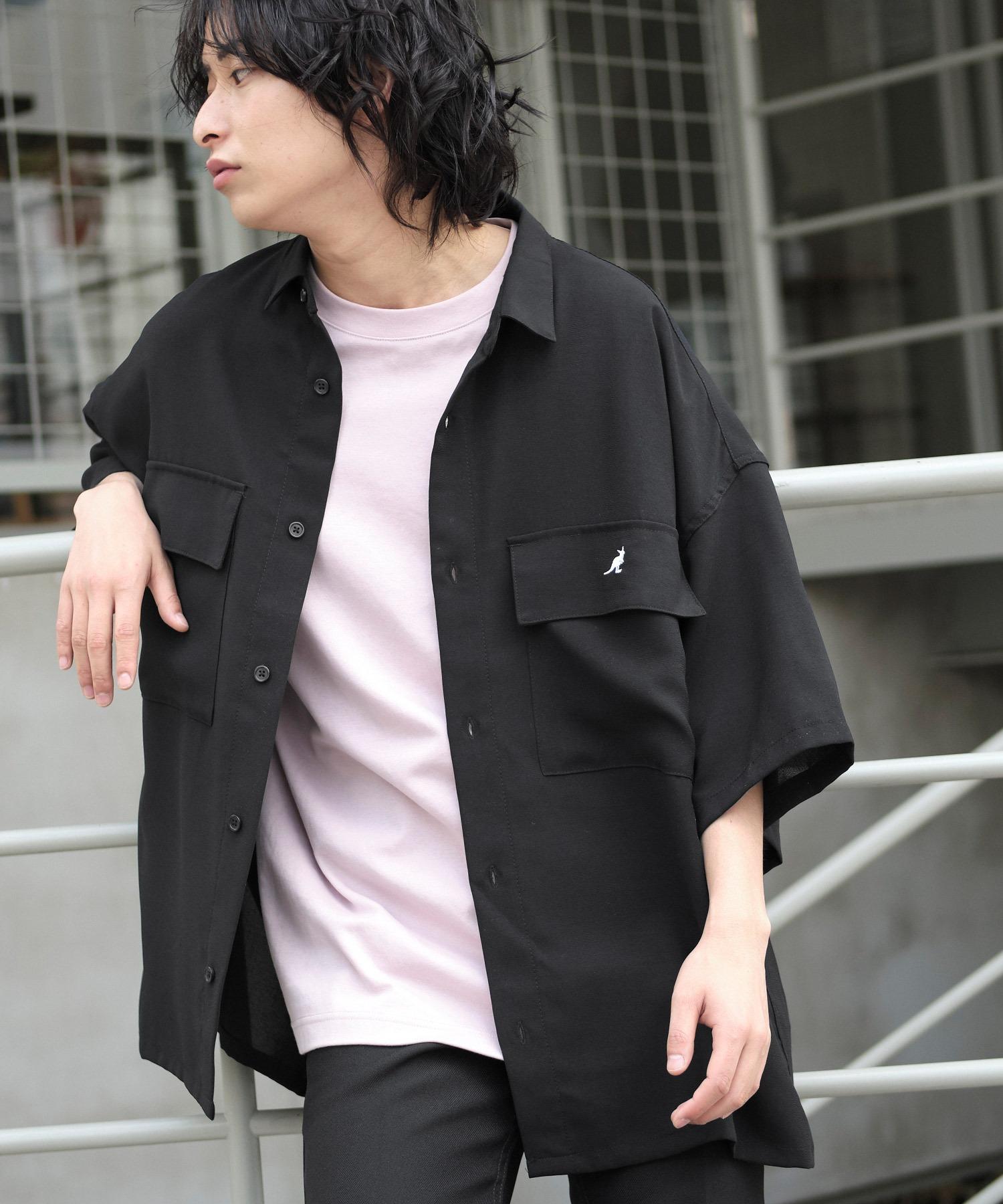 MONO-MART×KANGOL リラックスレギュラー クレリックカラー オーバーサイズ ドレープ 1/2 sleeve CPOシャツ