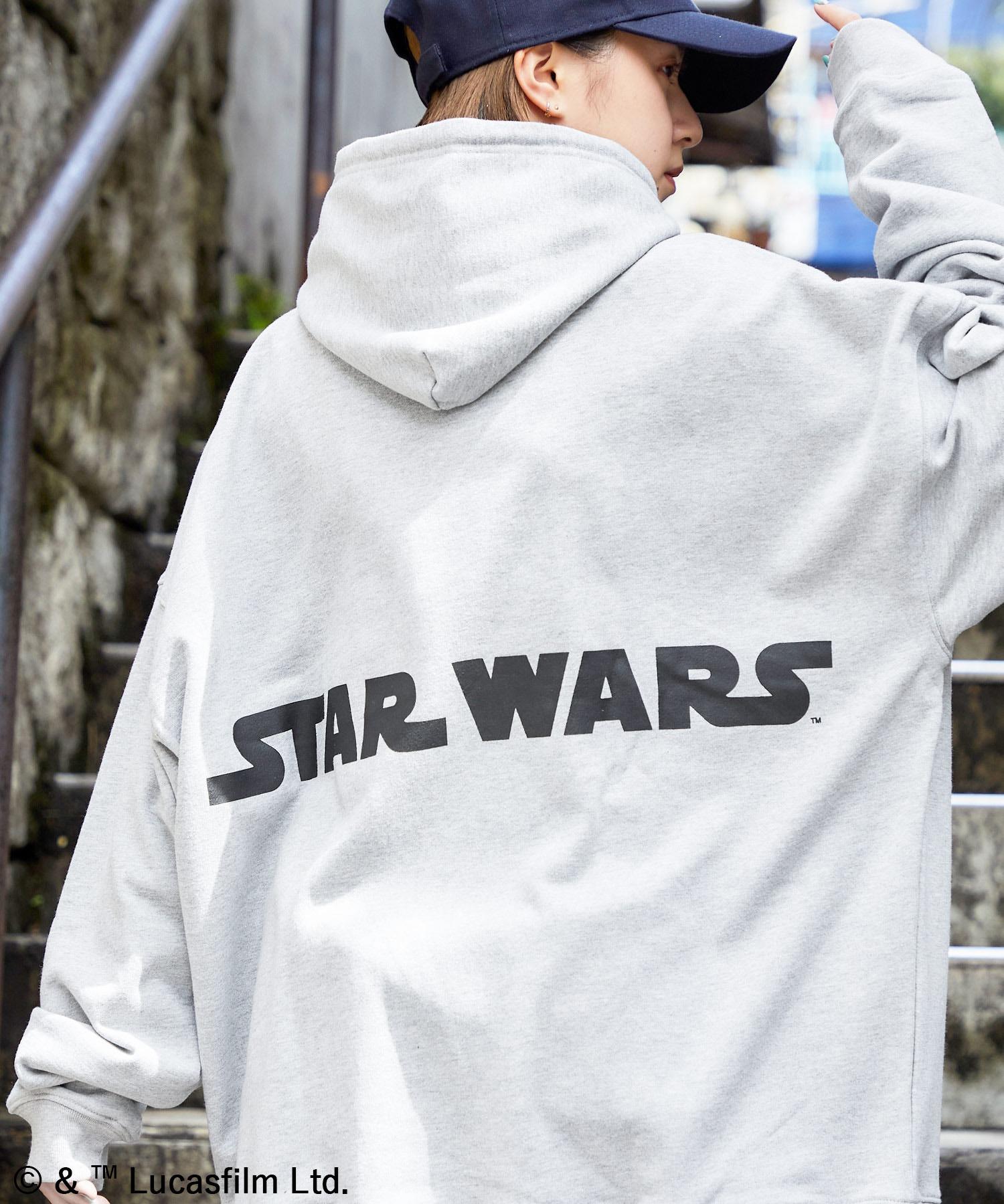 WEB限定 STAR WARS/スター・ウォーズ 別注 バッグロゴプリント オーバーサイズ プルオーバー パーカー