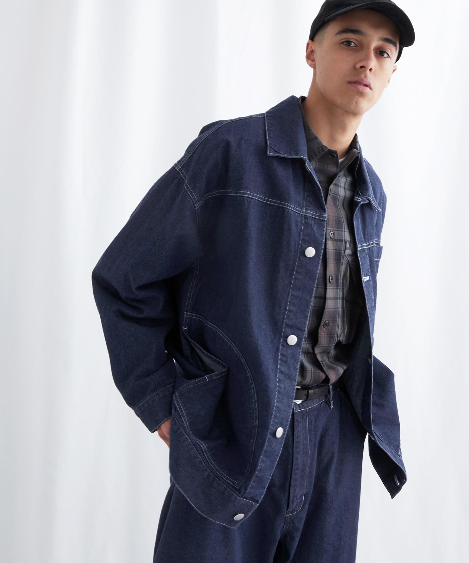 ビッグシルエット ユーティリティ ステッチデニムカバーオール EMMA CLOTHES 2021 S/S