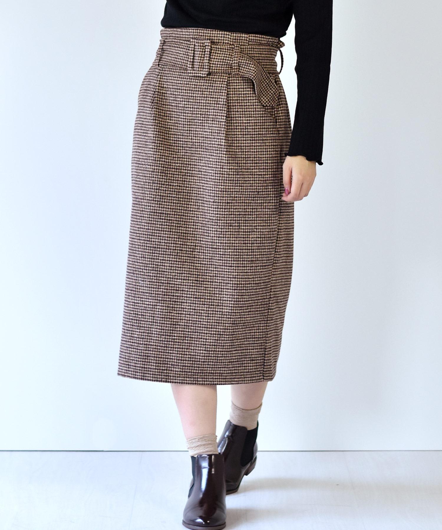 フェイクウールチェックナロースカート