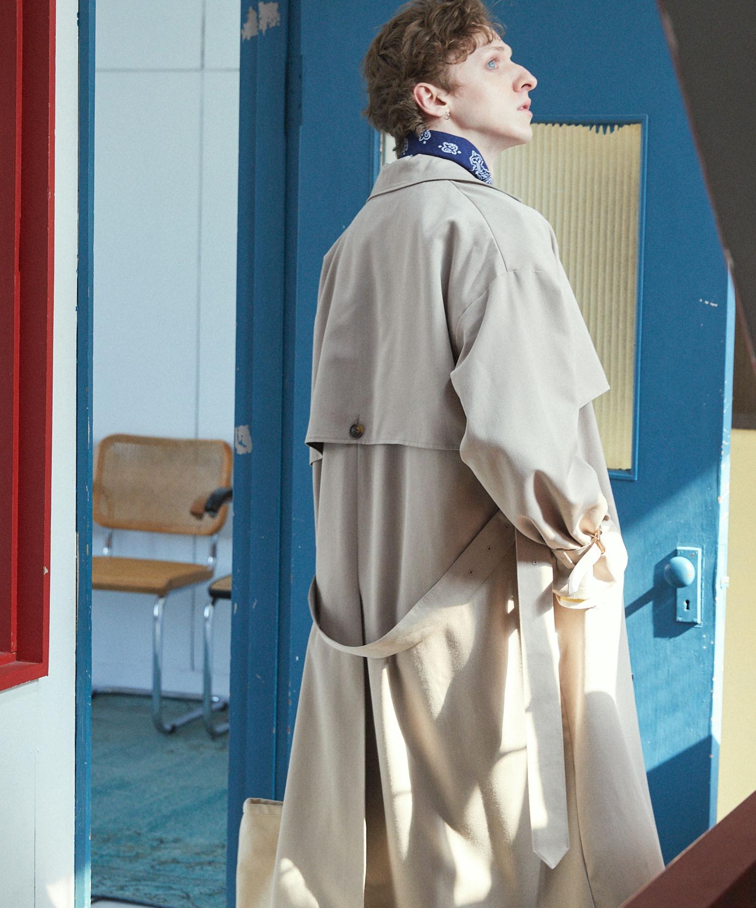 TRストレッチ オーバーサイズ ヨークトレンチコート/スプリングコート EMMA CLOTHES 2021S/S