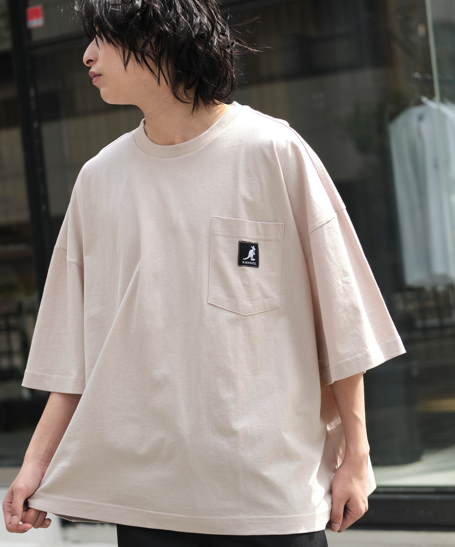 KANGOL/カンゴール 別注 ビッグシルエット ロゴピスネーム ポケット半袖Tシャツ 無地T トップス Tシャツ