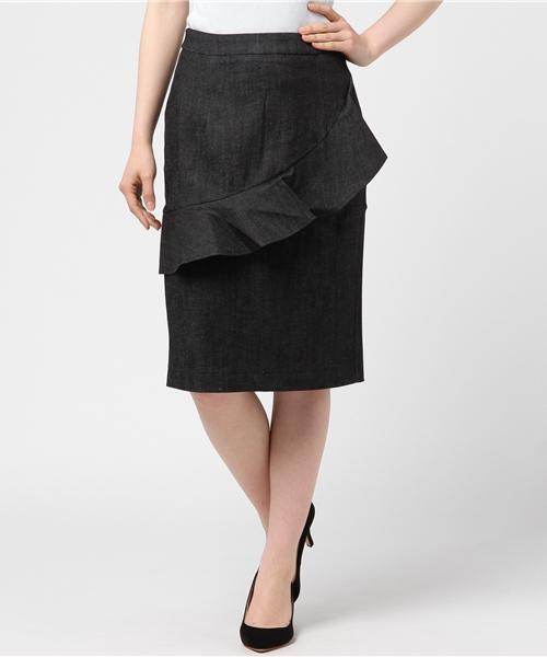 フリル切り替えタイトスカート