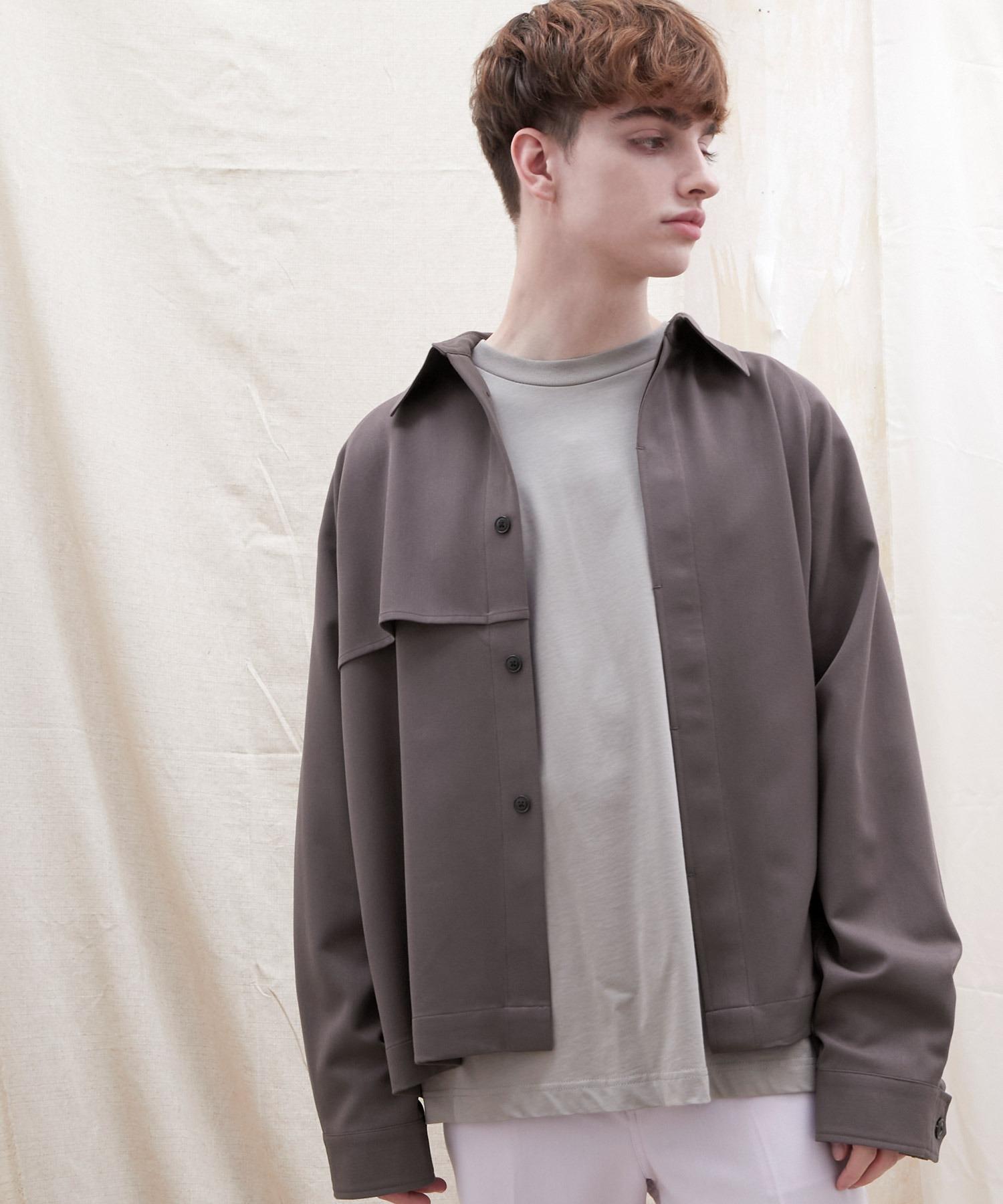 TRストレッチ ビッグシルエット L/S ヨークトレンチシャツ(EMMA CLOTHES)