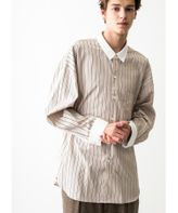 <monkey time> STRIPE WIDE CLERIC REG W/CUFF/シャツ