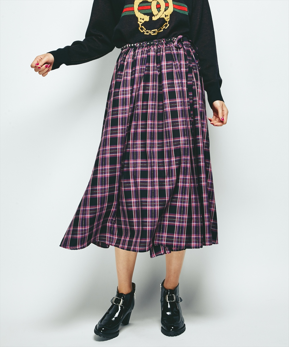 スタッズ付巻スカート