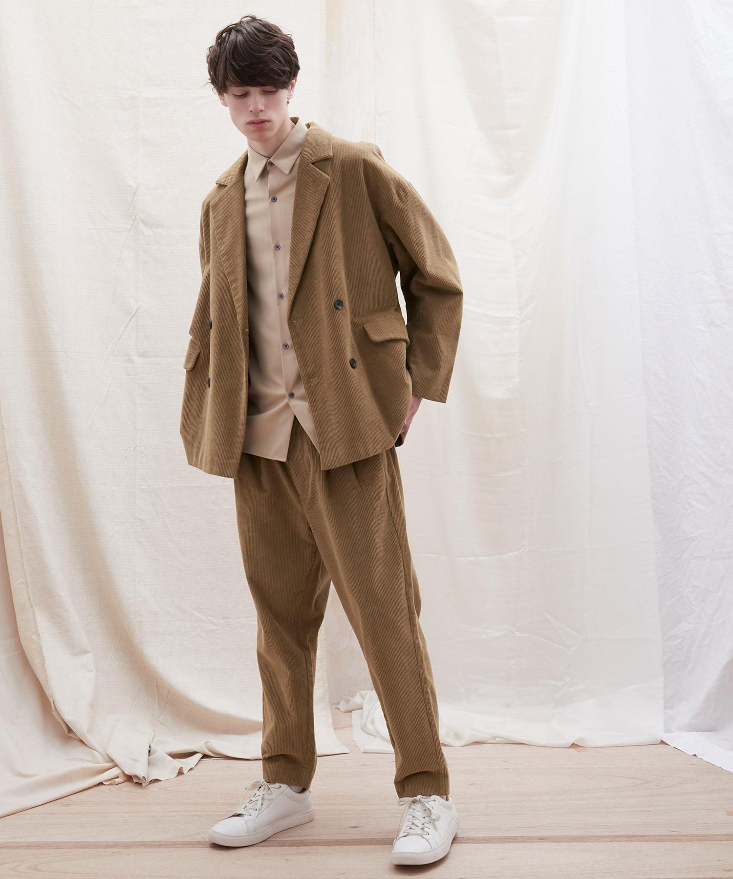 【セットアップ】オーバーサイズ ワイド セットアップ/ダブルテーラードジャケット&タックワイド テーパードパンツ EMMA CLOTHES 2021 S/S