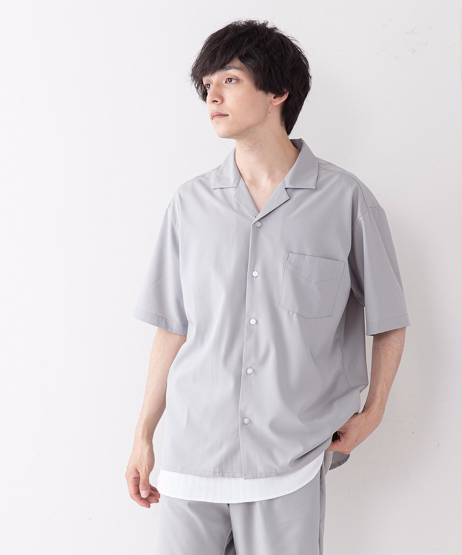 吸水速乾 UVカット 形態安定 2WAYストレッチ オープンカラーシャツ
