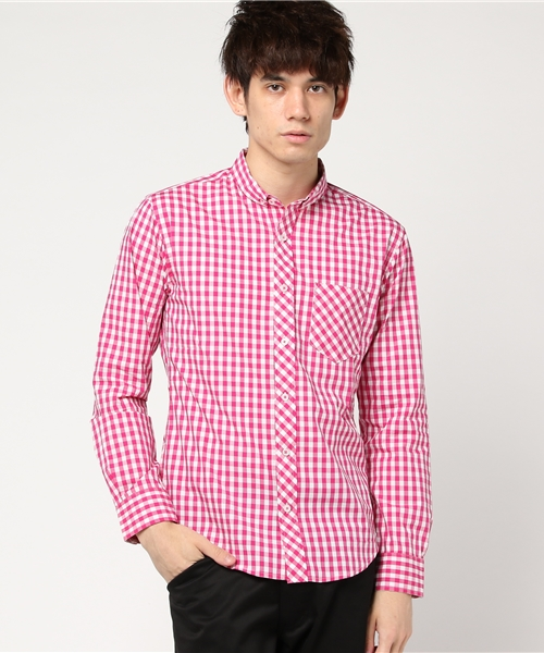 カラーギンガムチェックBDシャツ