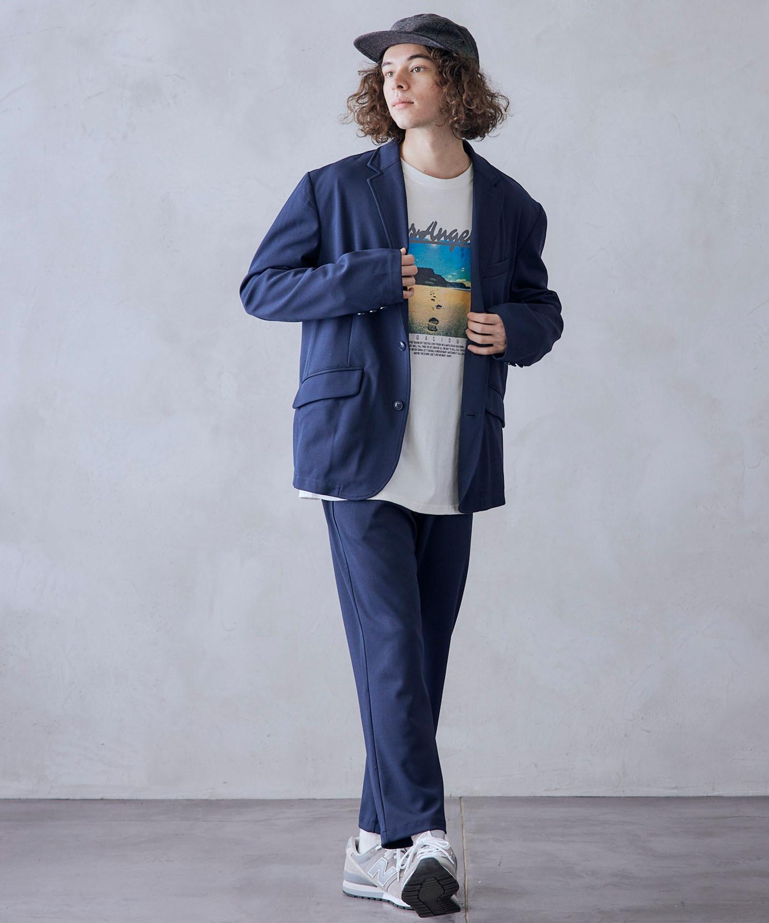 【セットアップ】ジョーゼットストレッチ シングル 2Bテーラードジャケット&トラウザーズパンツ
