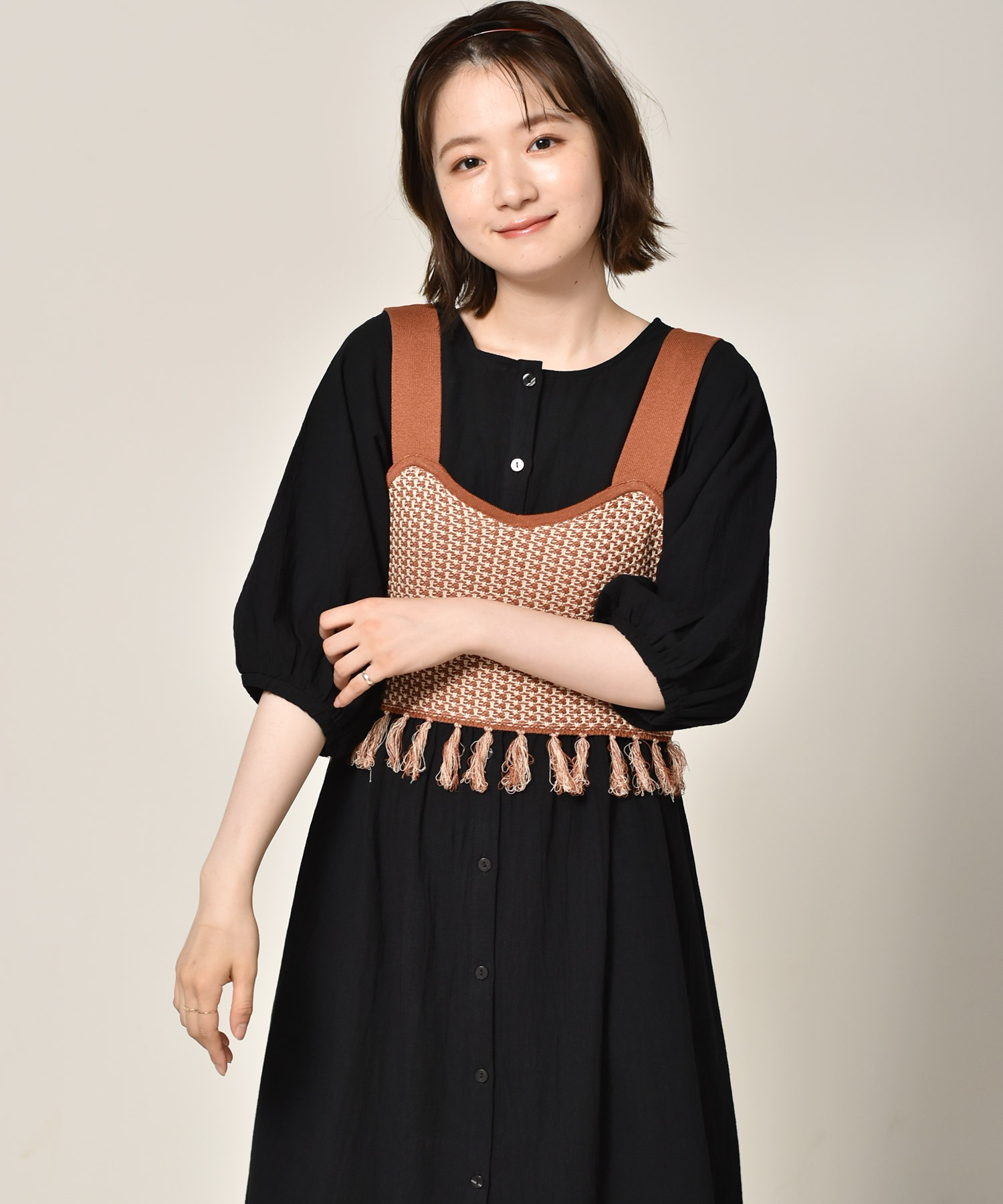 柄編みフリンジビスチェ