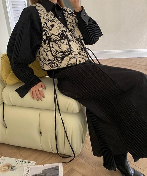 【chuclla】【2021/SS】Pleated long shirt one piece chw1498