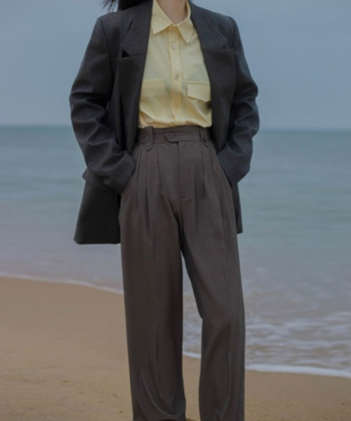 【LeonoraYang】High-waist tuck slacks chw1500