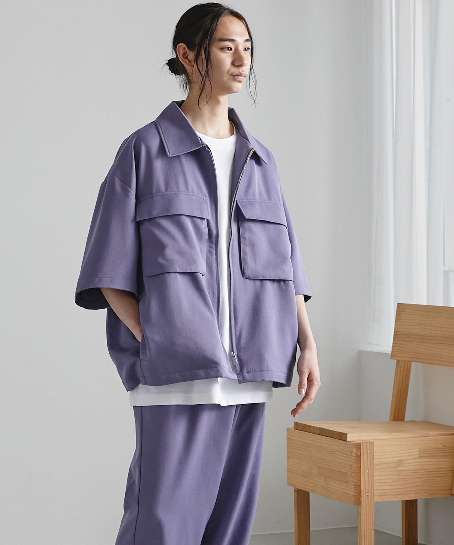 【セットアップ】TRストレッチ オーバーサイズ ビックポケット ジップシャツ(1/2 sleeve) & タックワイドパンツ -2021SUMMER-