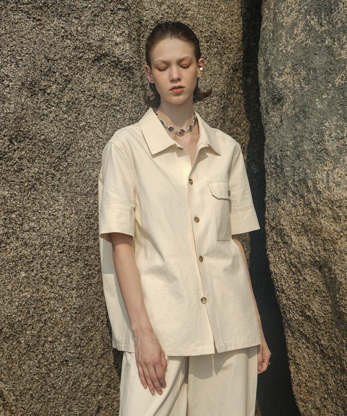 【LeonoraYang】Half sleeve cotton shirt chw1502