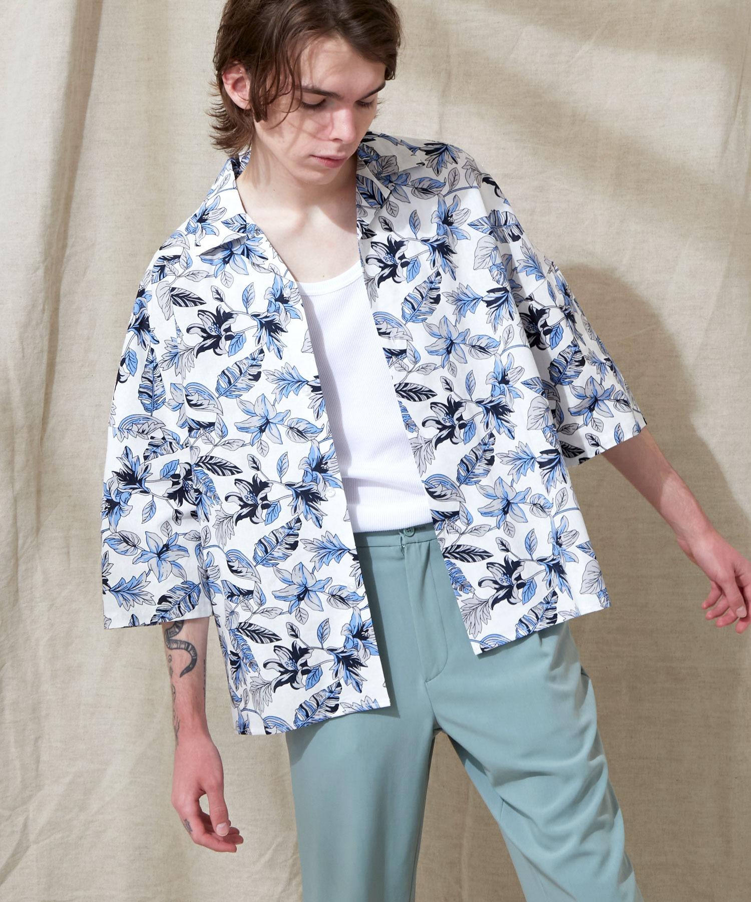 オーバーサイズドルマン プラントガラ オープンカラーS/Sシャツ EMMA CLOTHES 2021SUMMER