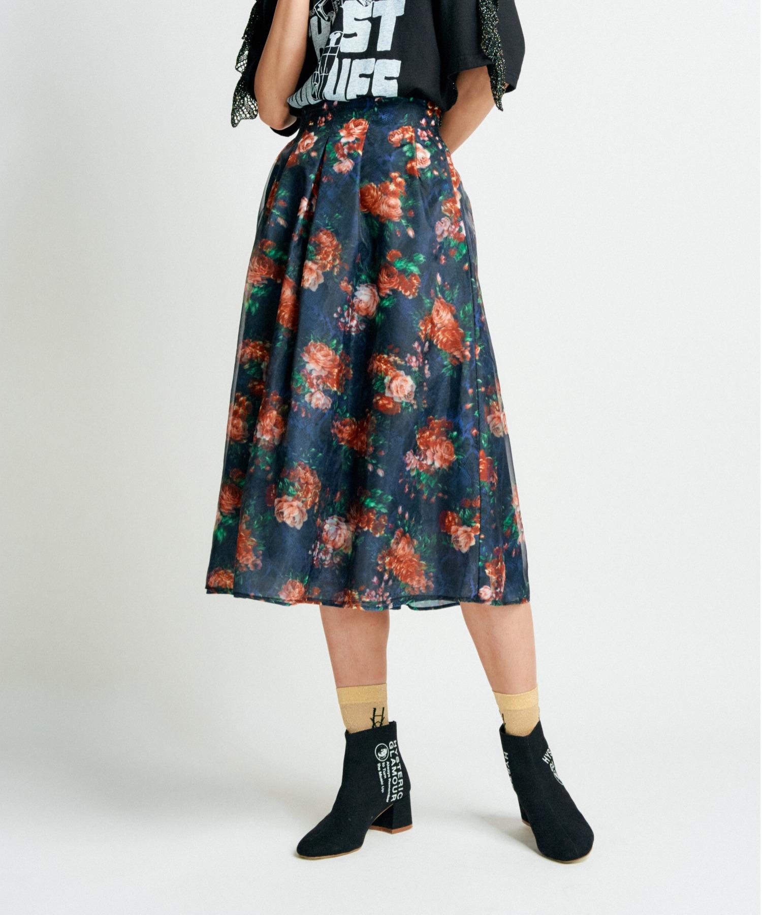 FLOWER PYTHON柄 タックスカート