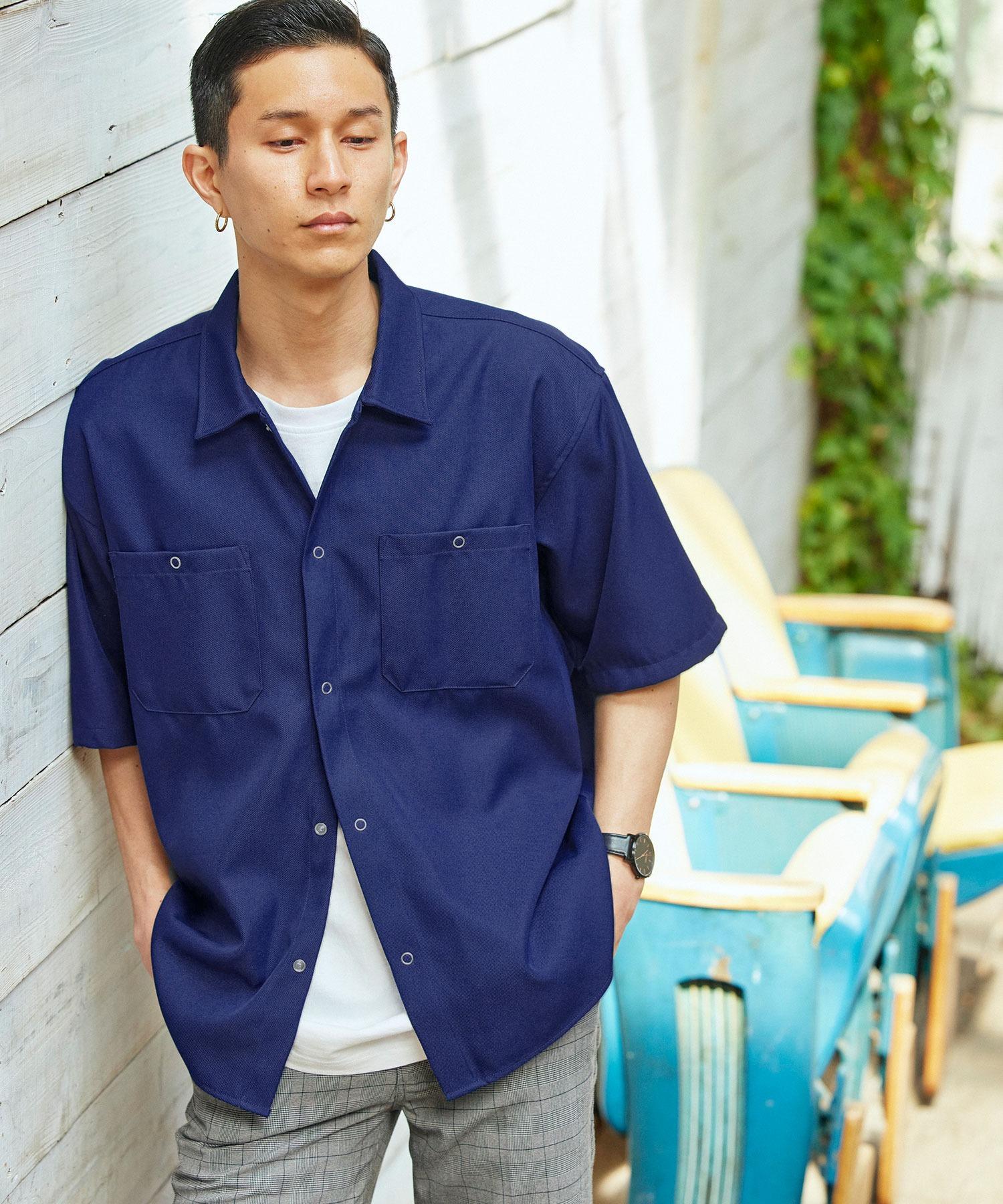 スタプレオーバーサイズ半袖ワークシャツ