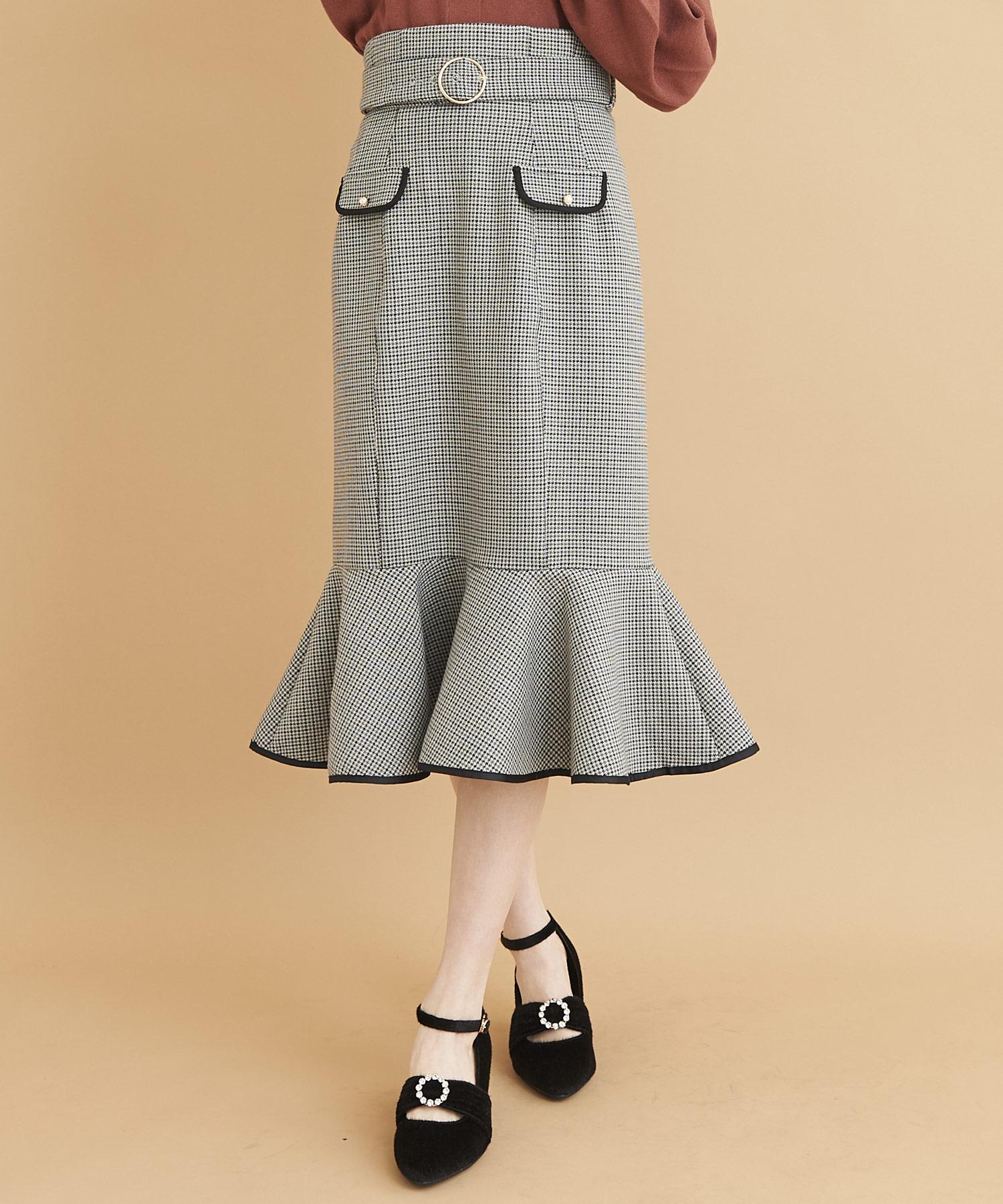 バイカラーパイピングマーメイドスカート