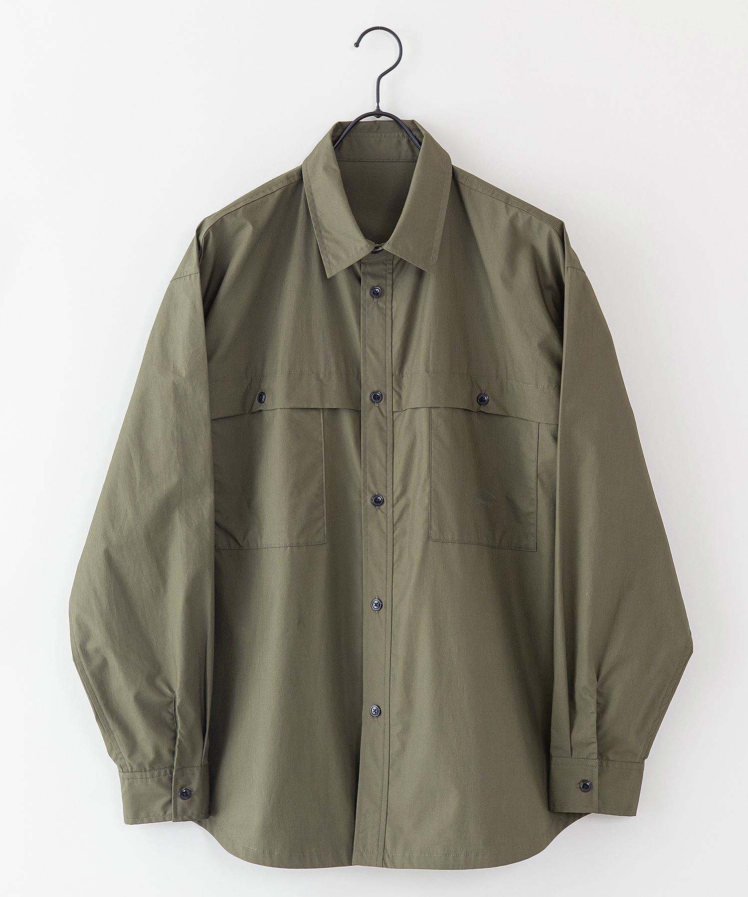 【着るバッグシリーズ】7ポケット多収納シャツ 長袖 同色ワンポイントブランドロゴ 内側ポケットB5収納可