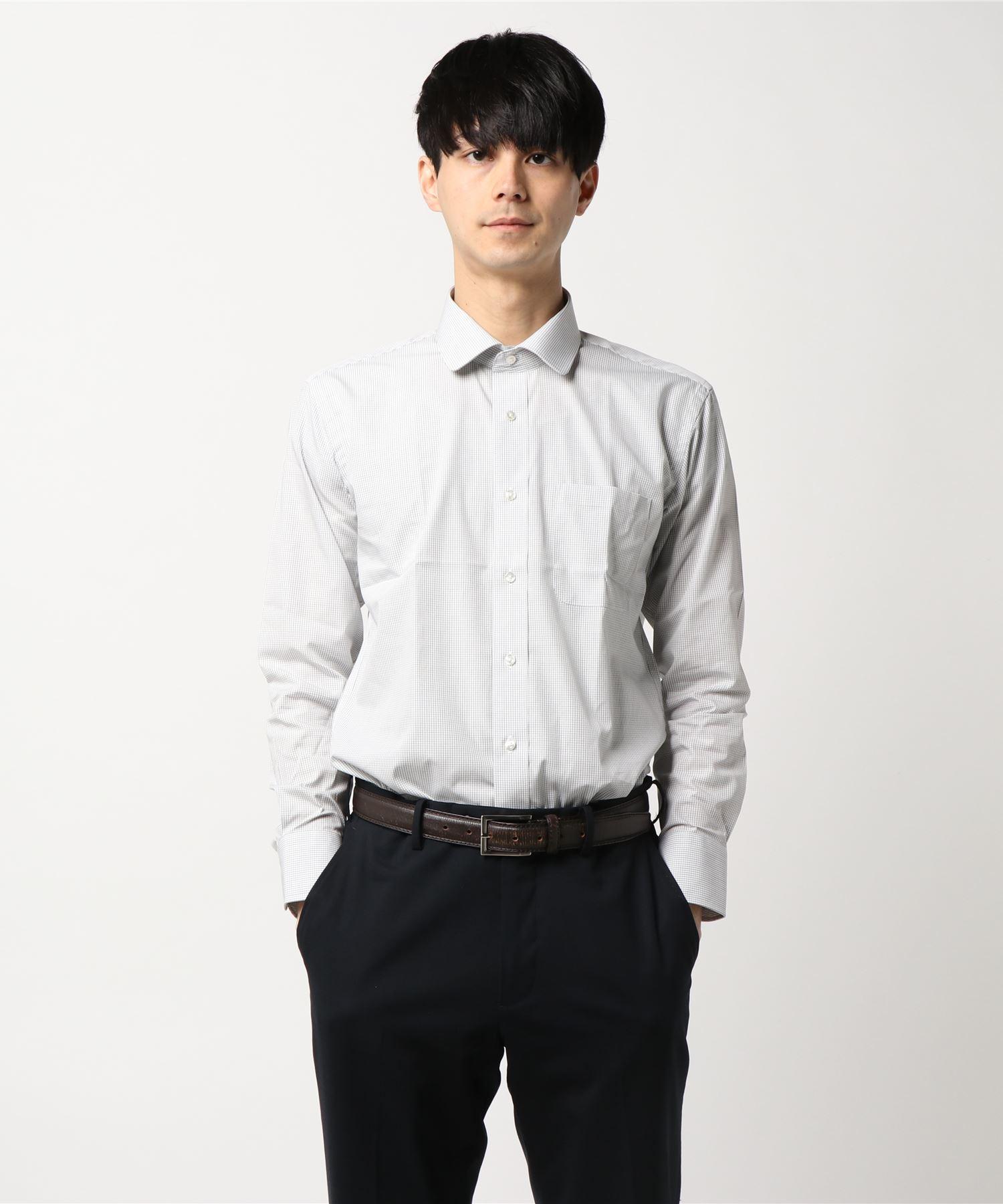 綿100% 形態安定 ラウンドカラー 長袖シャツ
