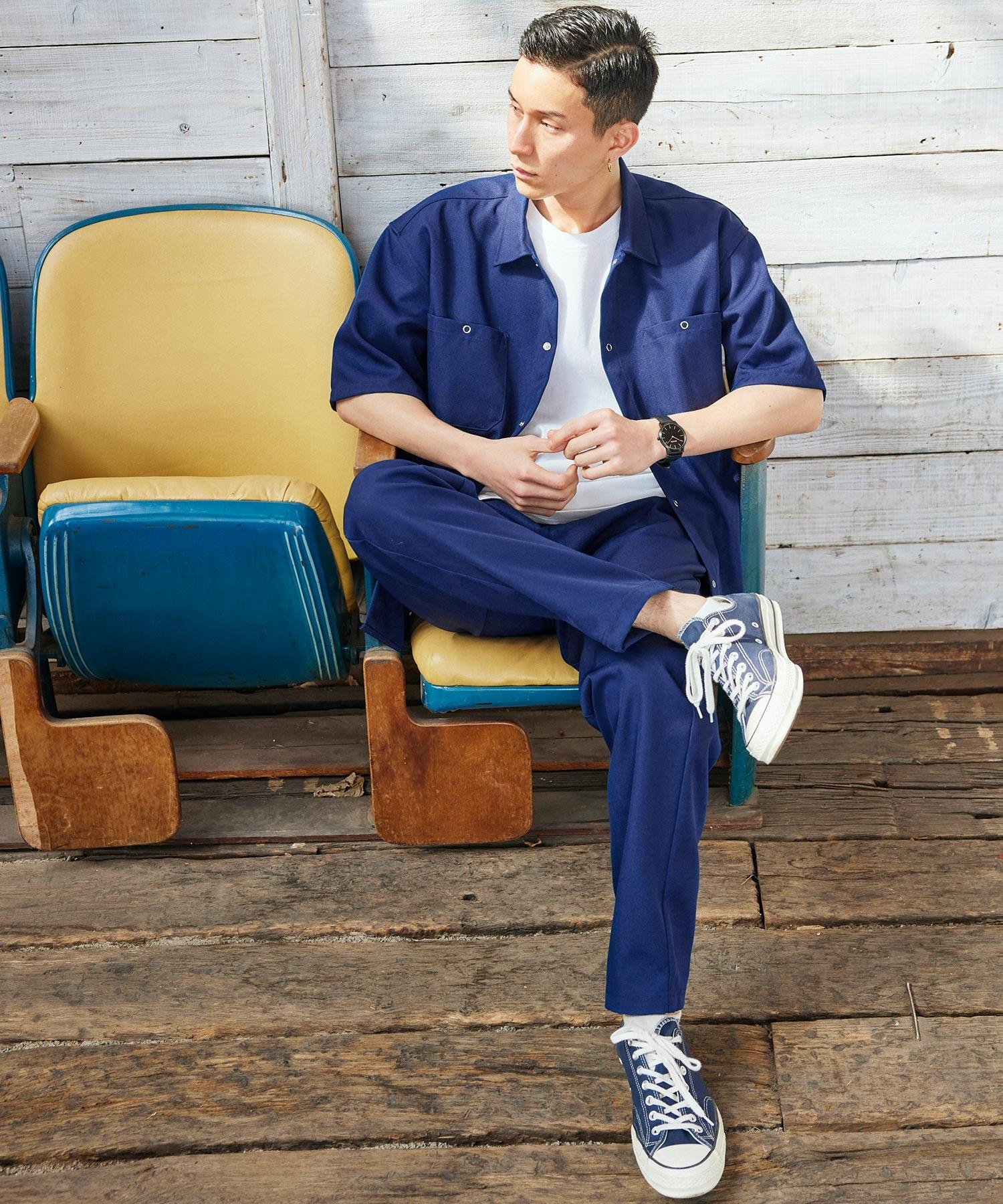 【セットアップ】スタプレオーバーサイズ半袖ワークシャツ&ワイドテーパードイージーパンツ