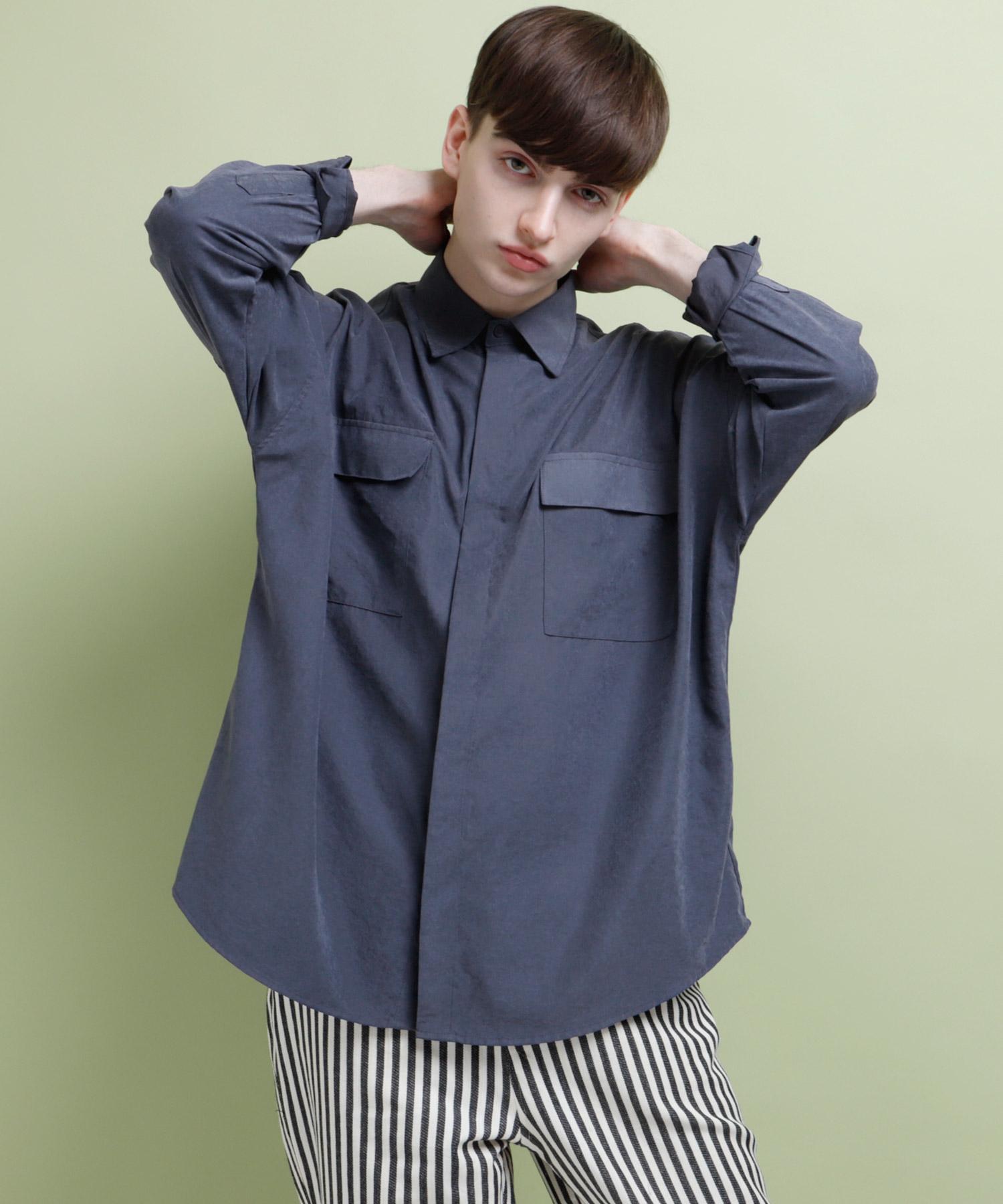スウェードライクドロップショルダー2ポケットシャツ