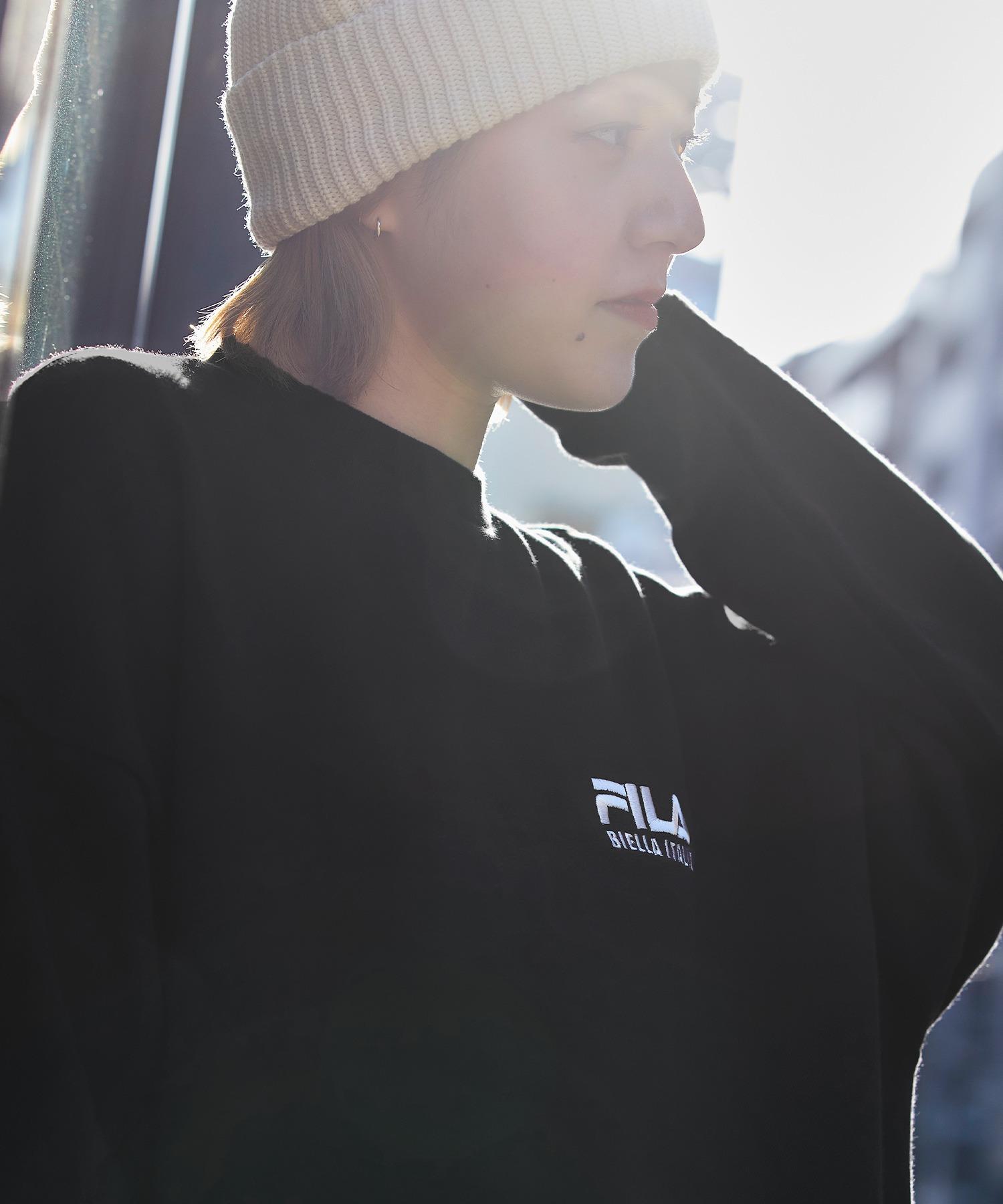 FILA/ フィラ フロント刺繍&バックロゴプリント ビッグシルエット裏毛バックスリットスウェット