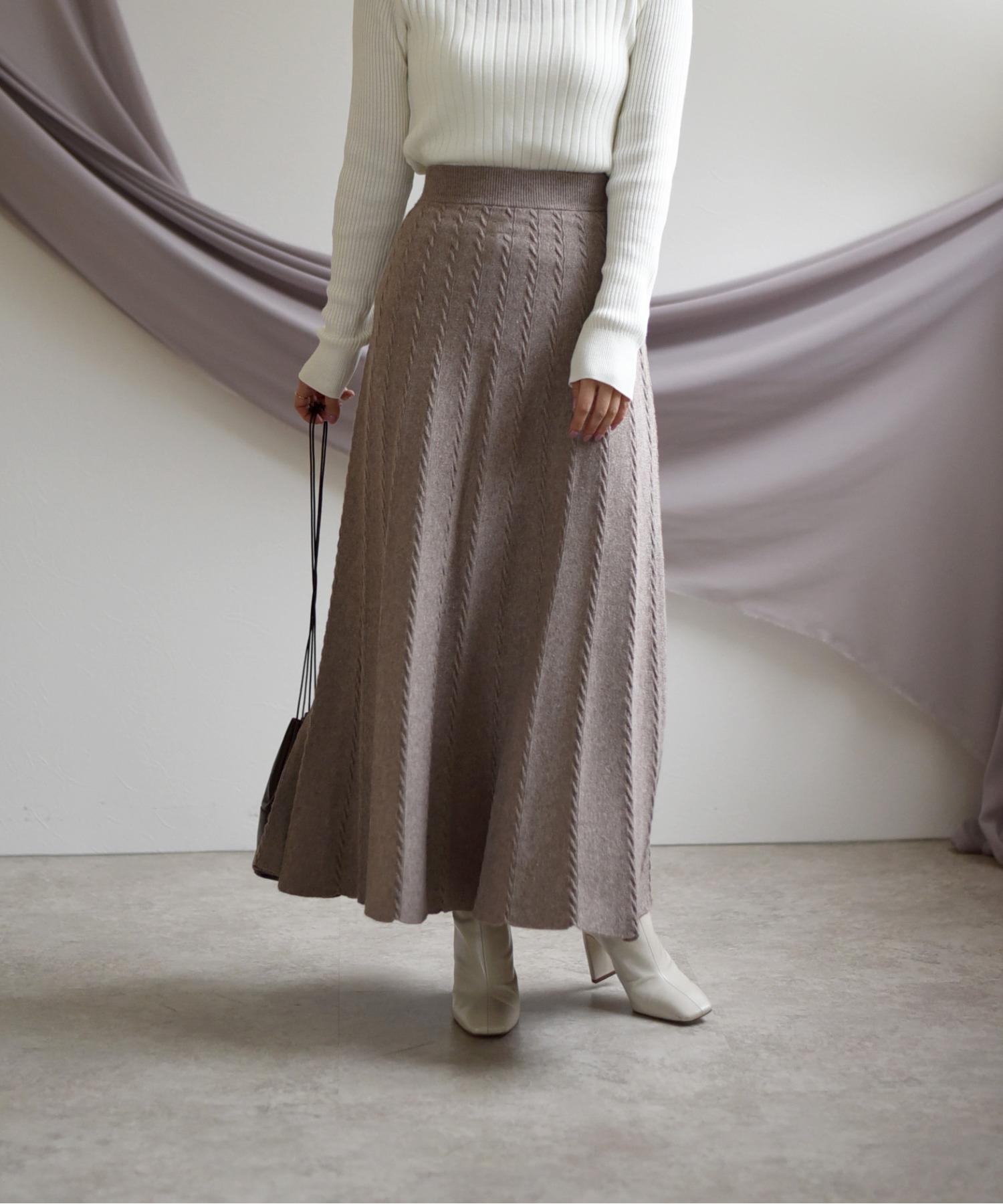 ケーブルラインニットフレアスカート