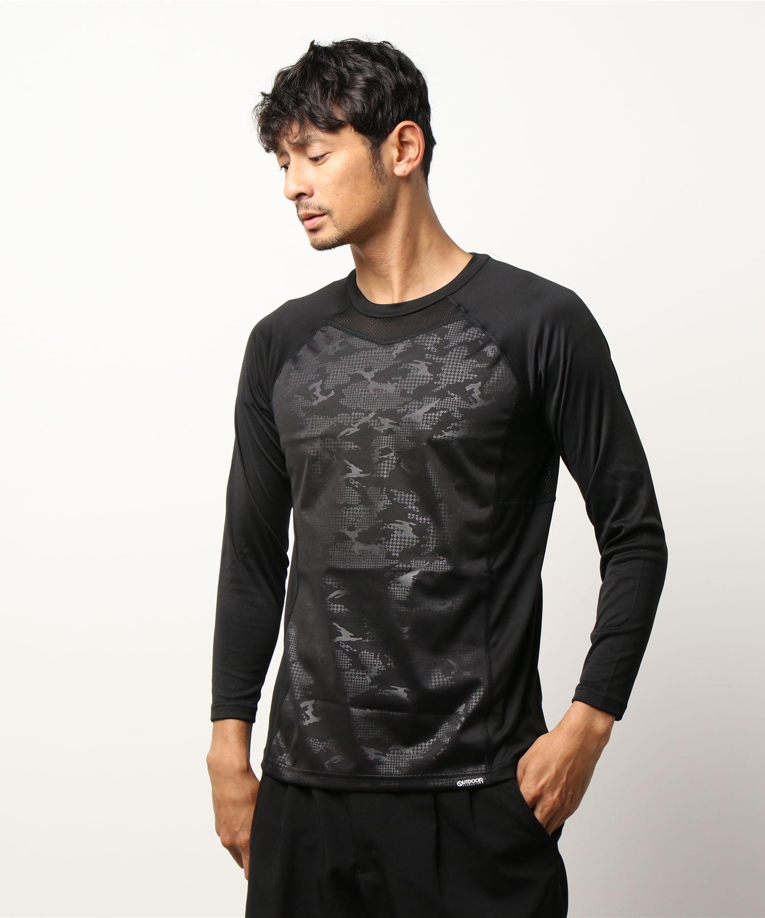 OUTDOOR PRODUCTS×BREEZETEX HYPER クルーネックロングTシャツ 防風透湿 衣服内温度+5℃