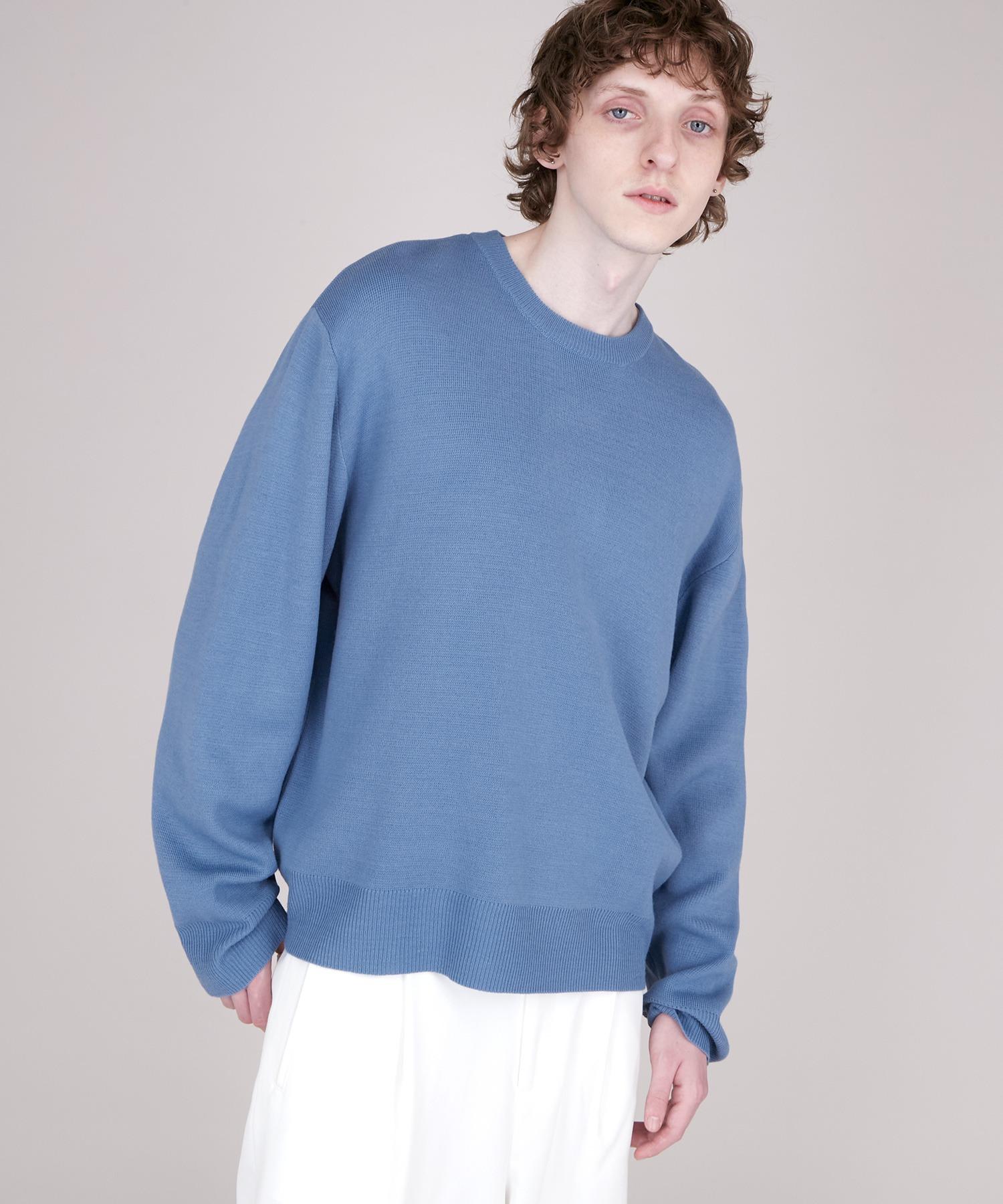 オーバーサイズ畦クルーネックニットプルオーバー (EMMA CLOTHES)