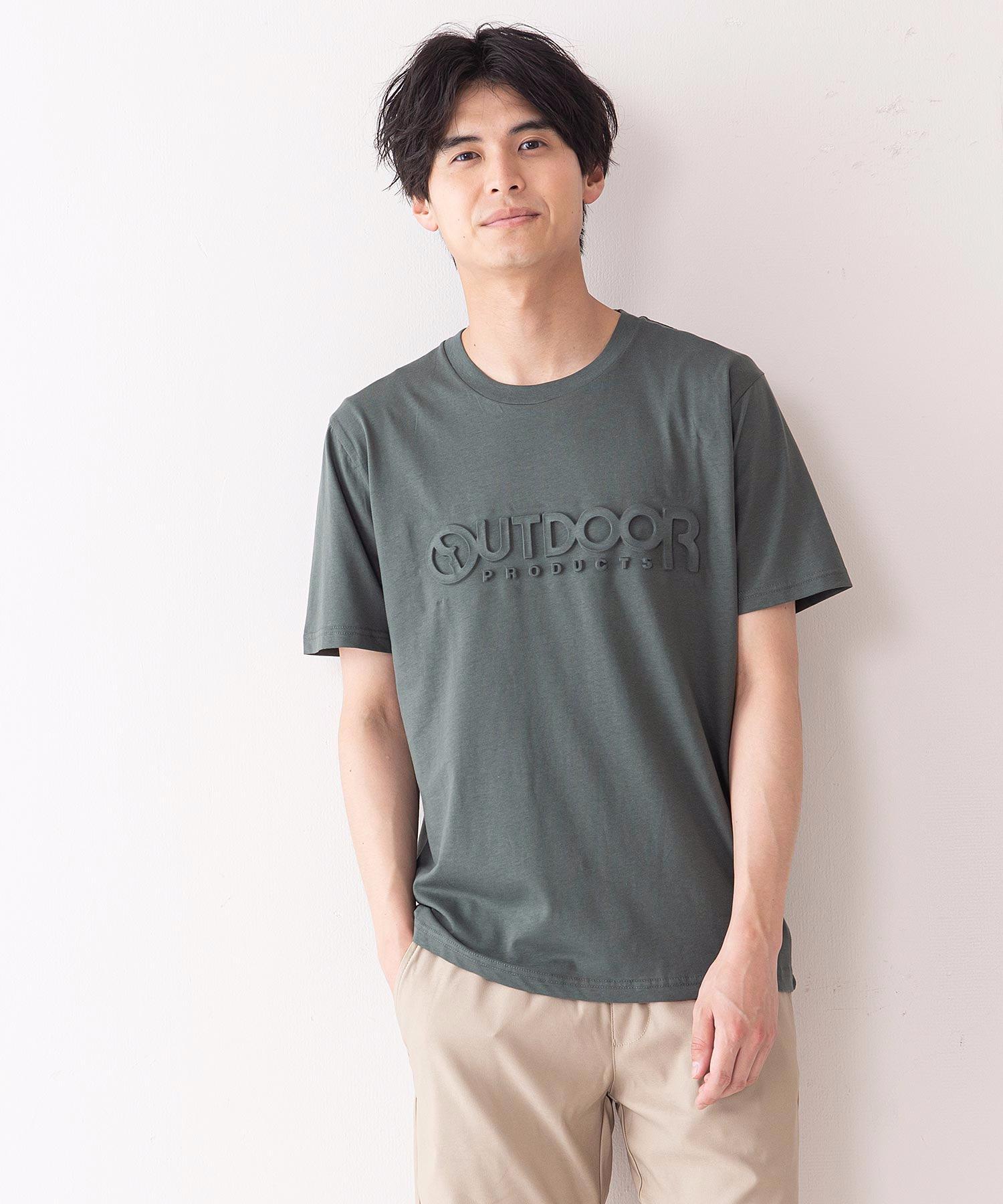 エンボスブランドロゴTシャツ 同色プリント ユニセックス