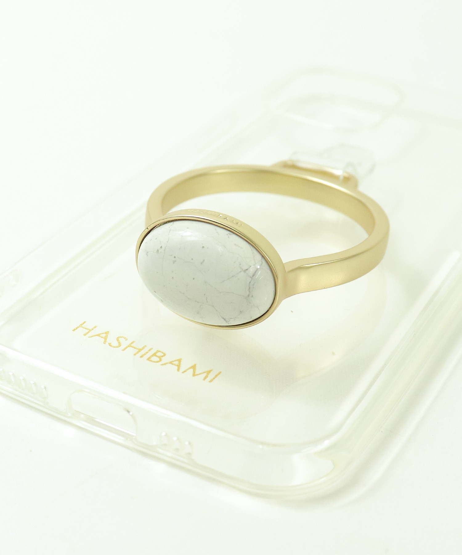 【 Hashibami / ハシバミ 】別注 iPhone12/12pro クリア スマホ・携帯カバー 天然石リング付きケース