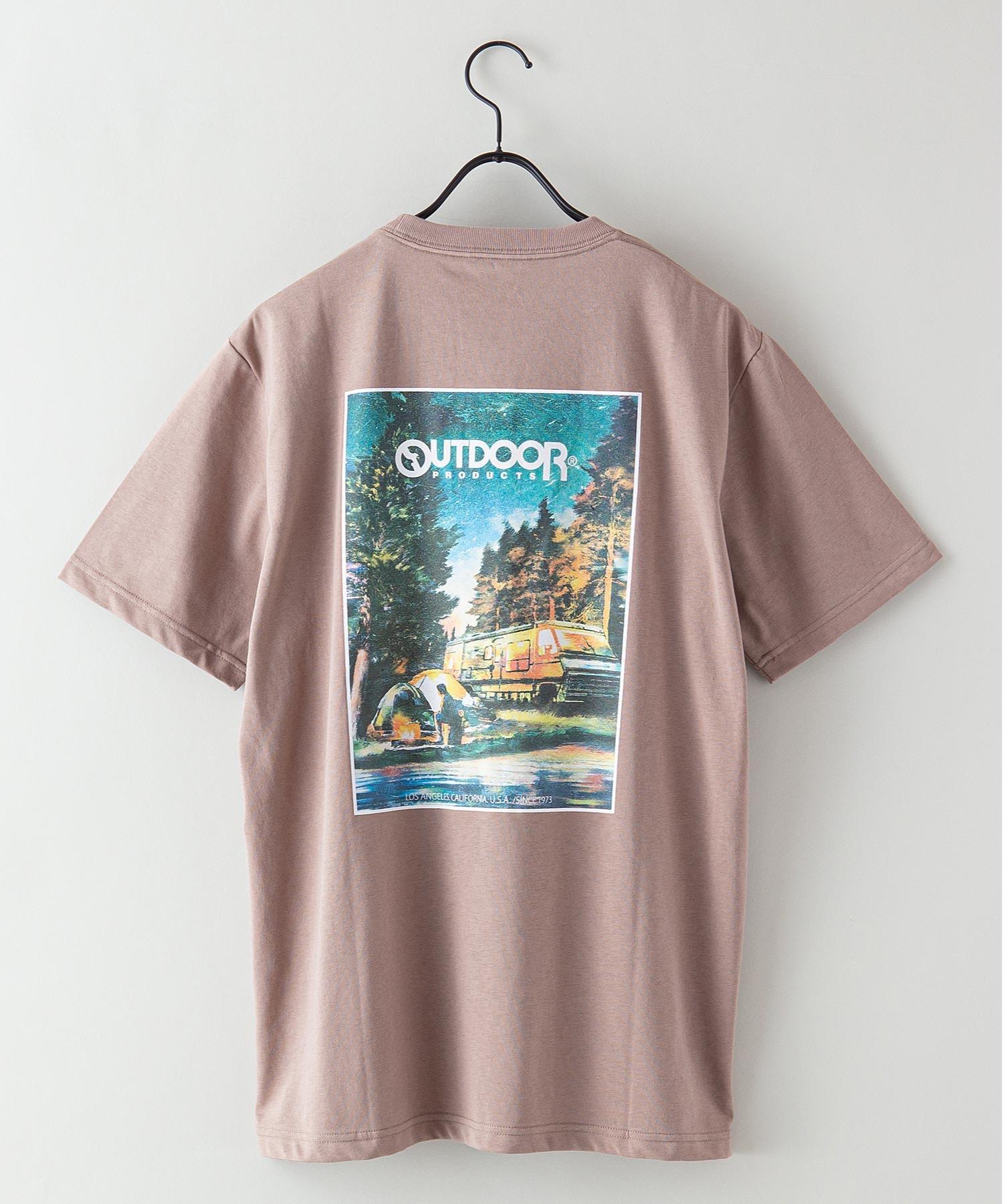 ドライ機能付き(速乾機能)CAMPモチーフグラフィックバックプリントワンポイントブランドロゴTシャツ