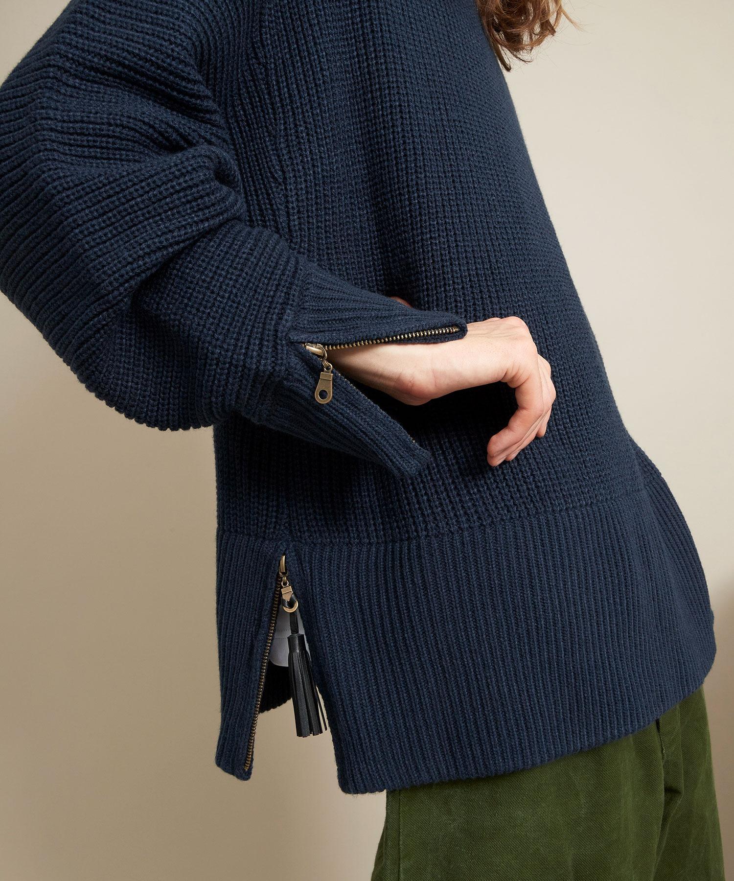 オーバーサイズ 7G畦編み 裾タッセル&袖ZIP モックネックニットプルオーバー(EMMA CLOTHES)