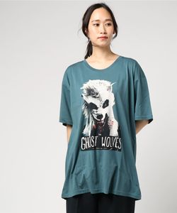 THE GHOST WOLVES/THE GW MASK プリント ビッグTシャツ