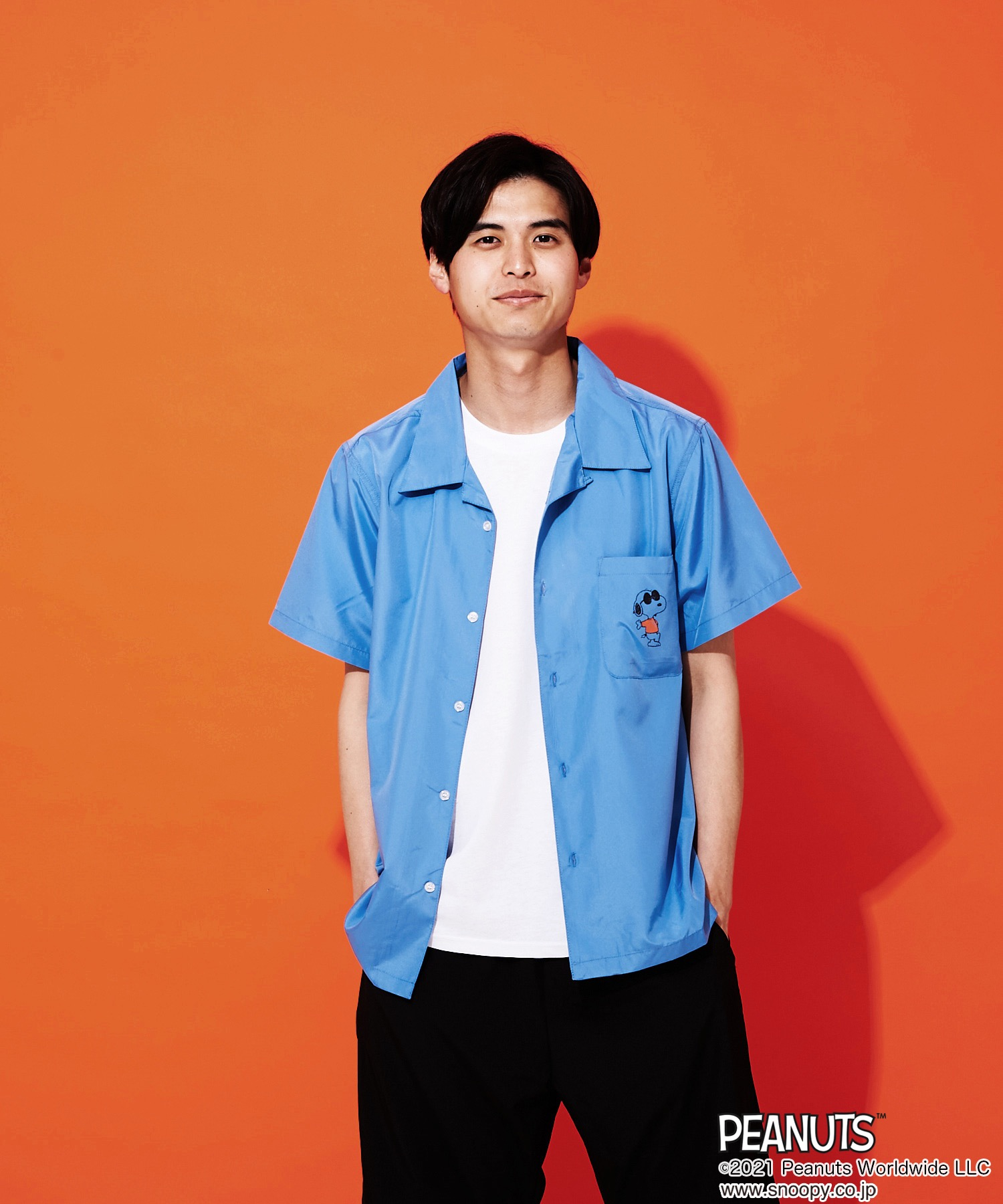 【PEANUTS/ピーナッツ】バックプリント開襟シャツ