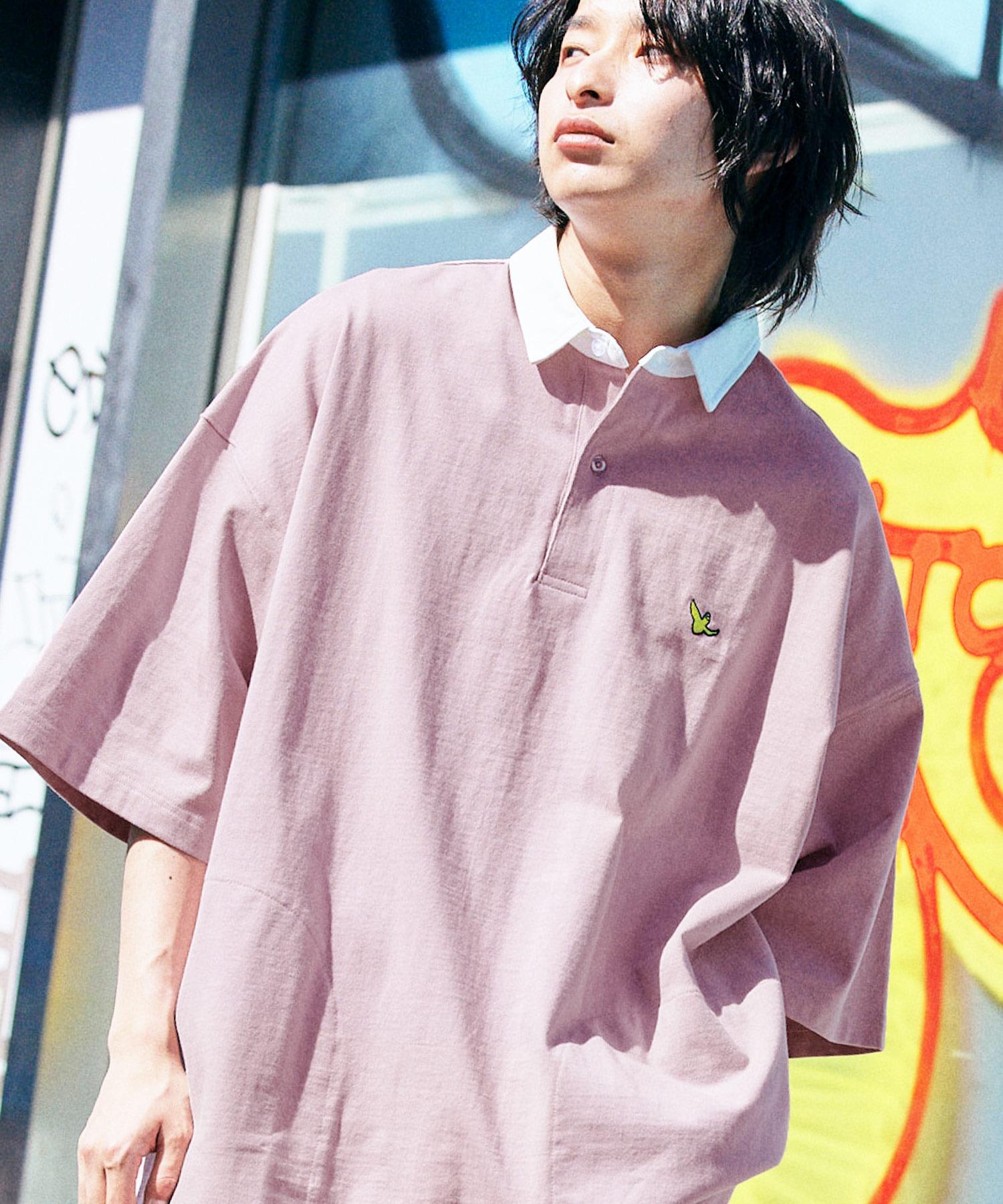 Mark Gonzales/マークゴンザレス MONO-MART別注 ロゴ刺繍 ビッグシルエット サイドポケット 半袖ラガーシャツ