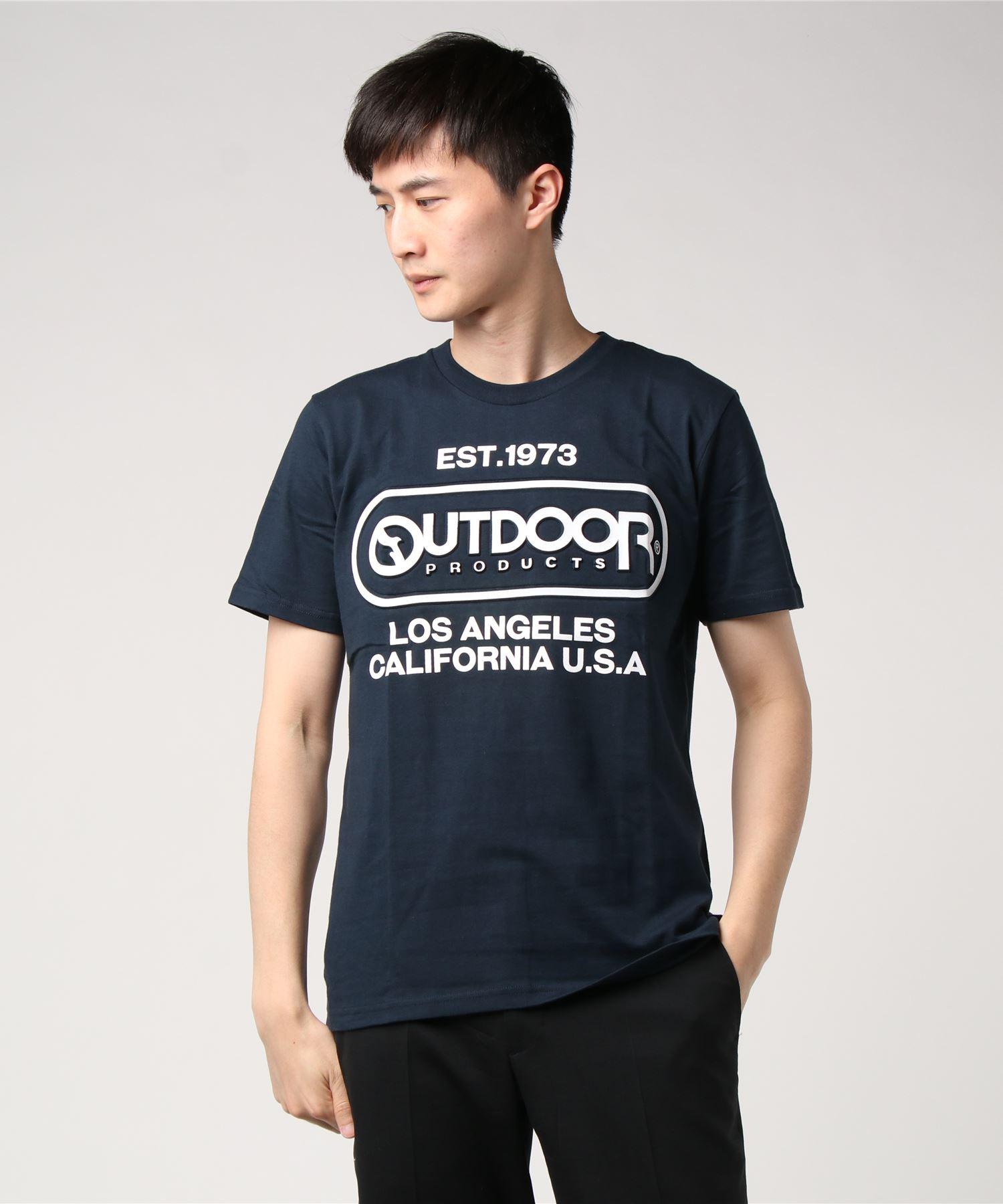 【OUTDOOR PRODUCTS】エンボスプリントロゴTシャツ ブランドロゴ ビッグロゴプリント