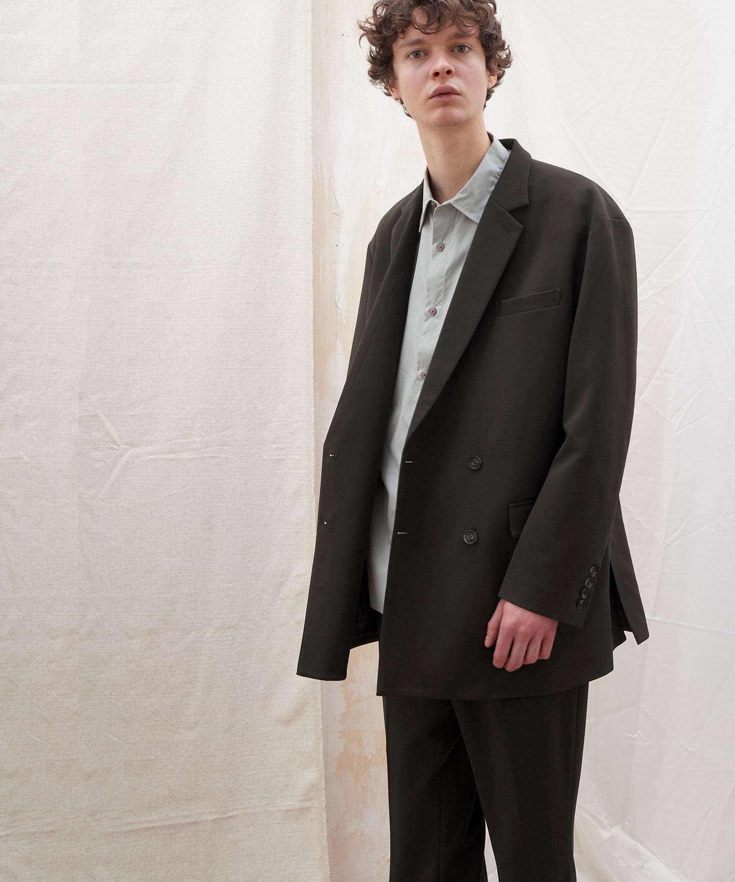【セットアップ】梨地ルーズリラックス ドレープ ダブルテーラードジャケット/ワンタックフレアスラックスパンツ EMMA CLOTHES 2020AW