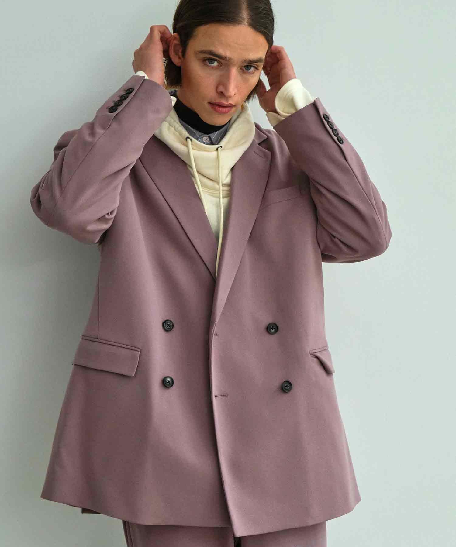 【セットアップ】梨地ルーズリラックス ダブルテーラードジャケット&ワンタックフレアスラックスパンツ EMMA CLOTHES 2021 S/S