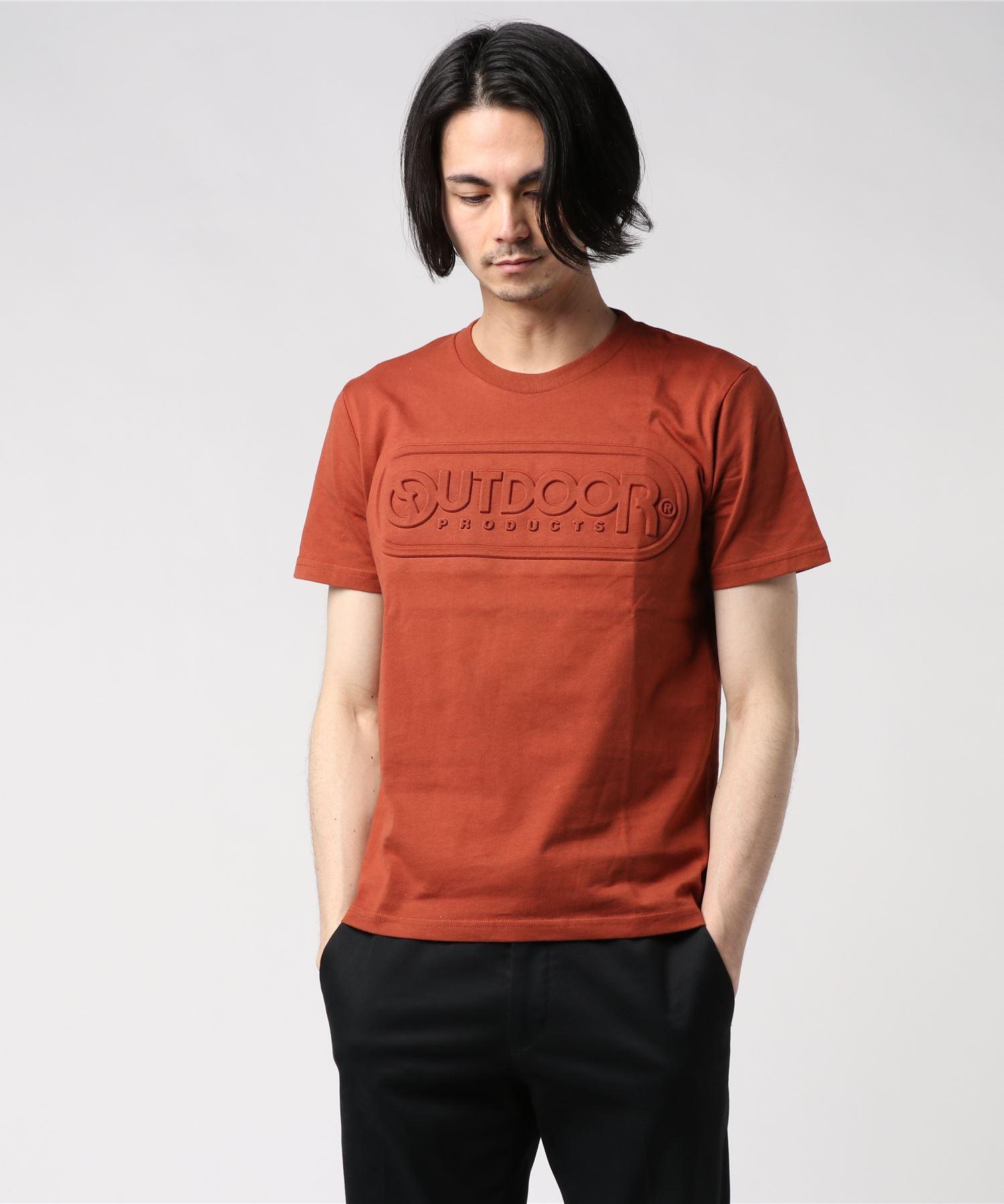 【OUTDOOR PRODUCTS】エンボスロゴTシャツ 同色プリント ブランドロゴ