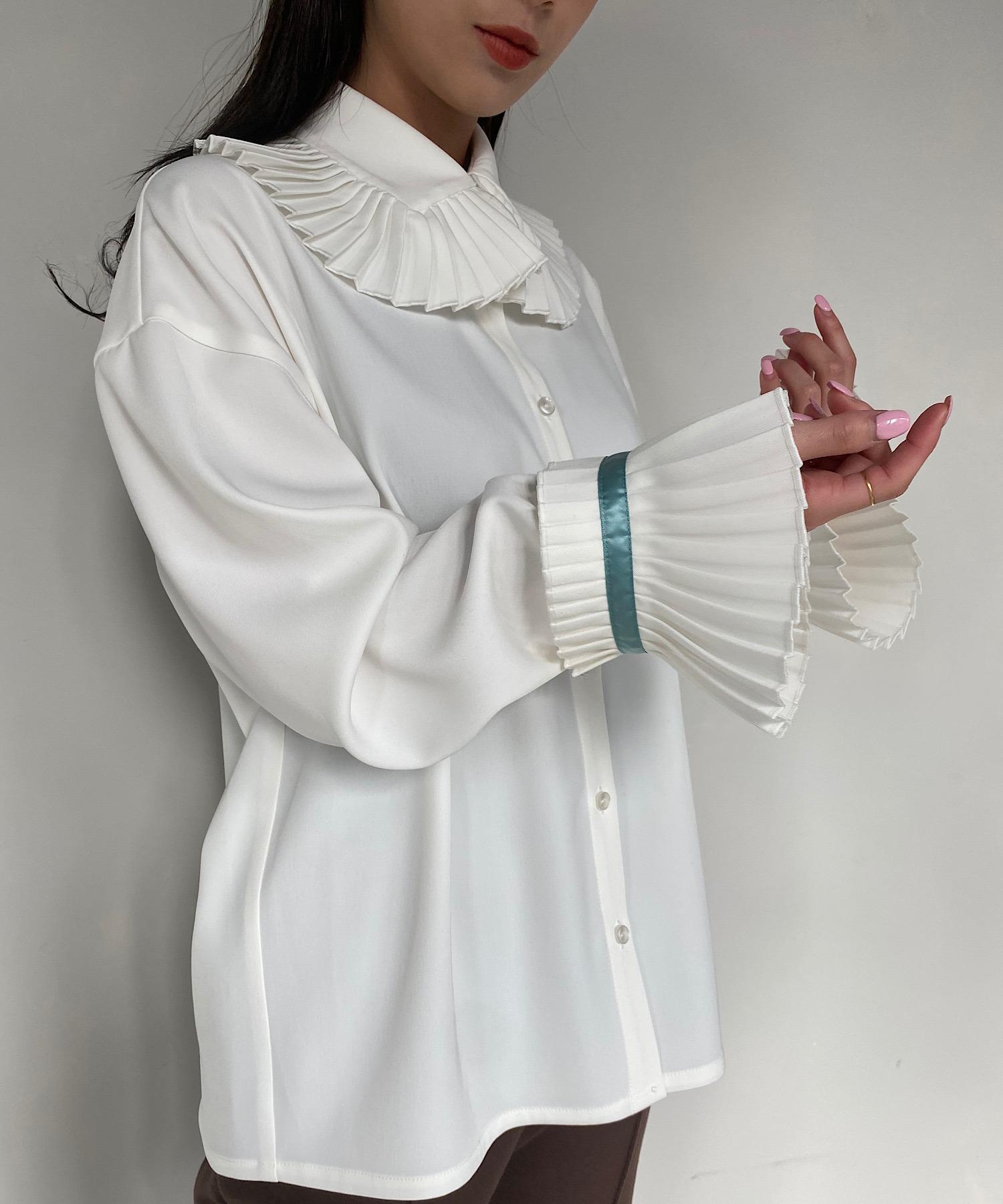 【SANSeLF】frill big collar blouse sanwg1