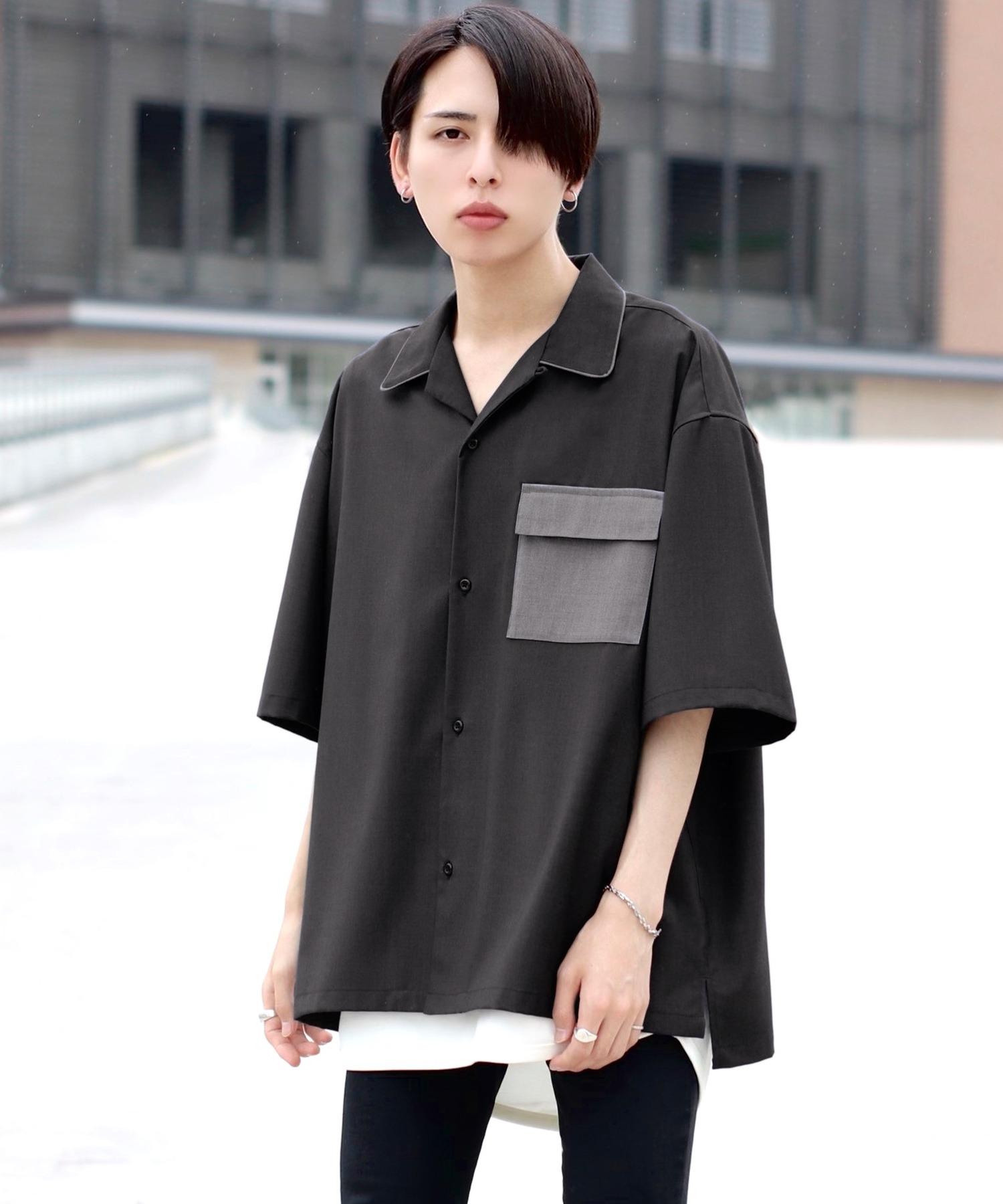 ファッションインフルエンサー ろむし × BASQUE magenta 切り替え オープンカラーシャツ 半袖
