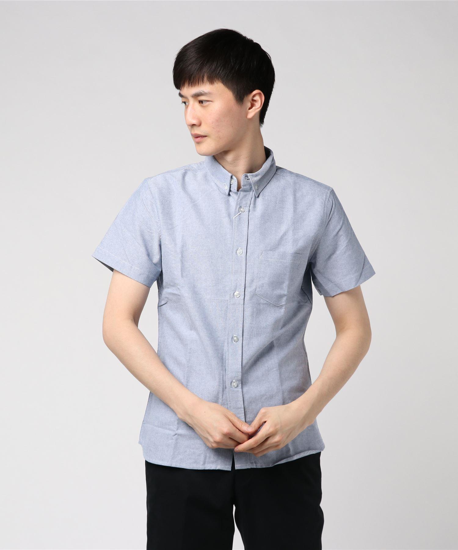 オックスボタンダウン半袖シャツ