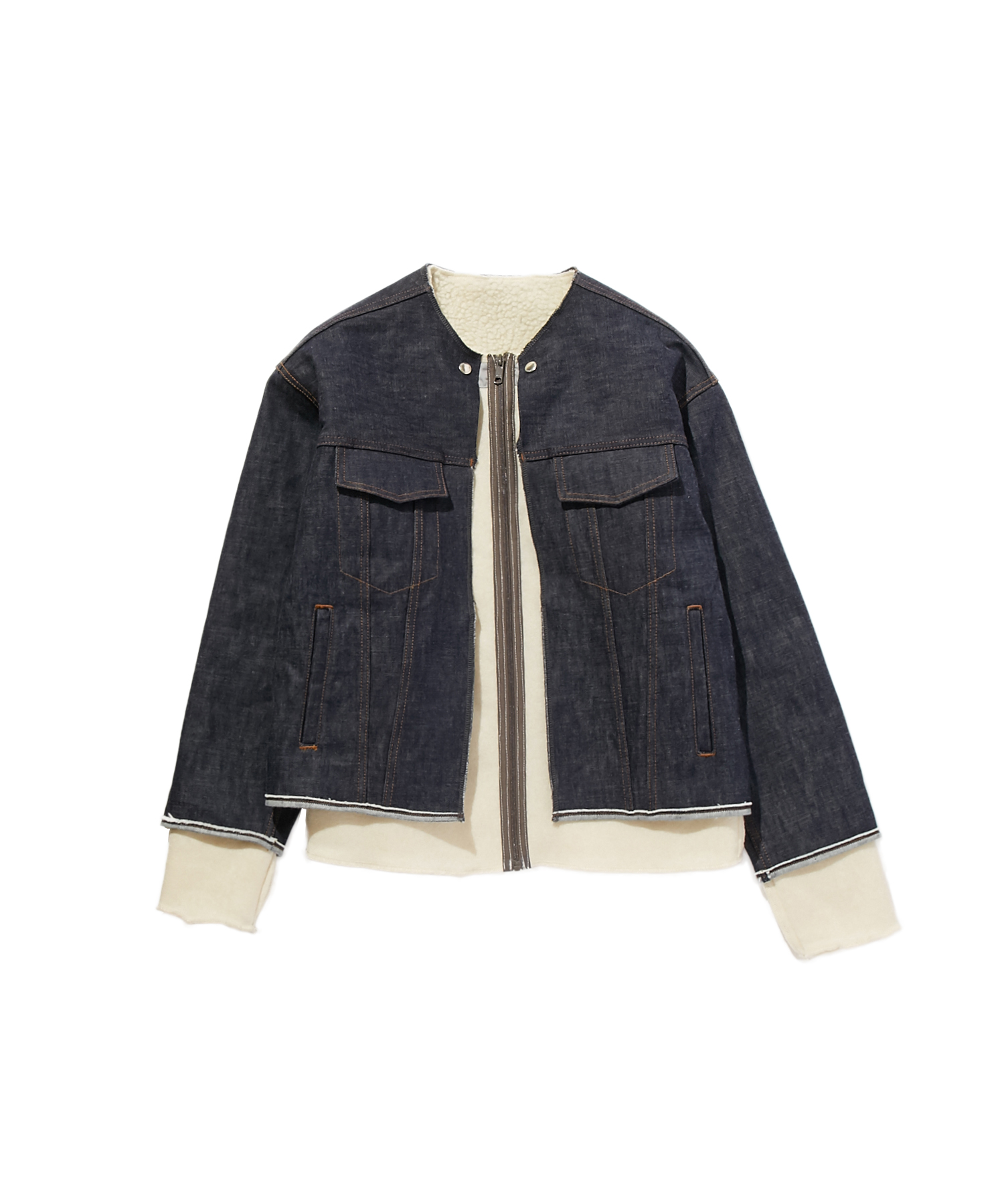 FALL2019 COLLARLESS DENIM BLOUSON