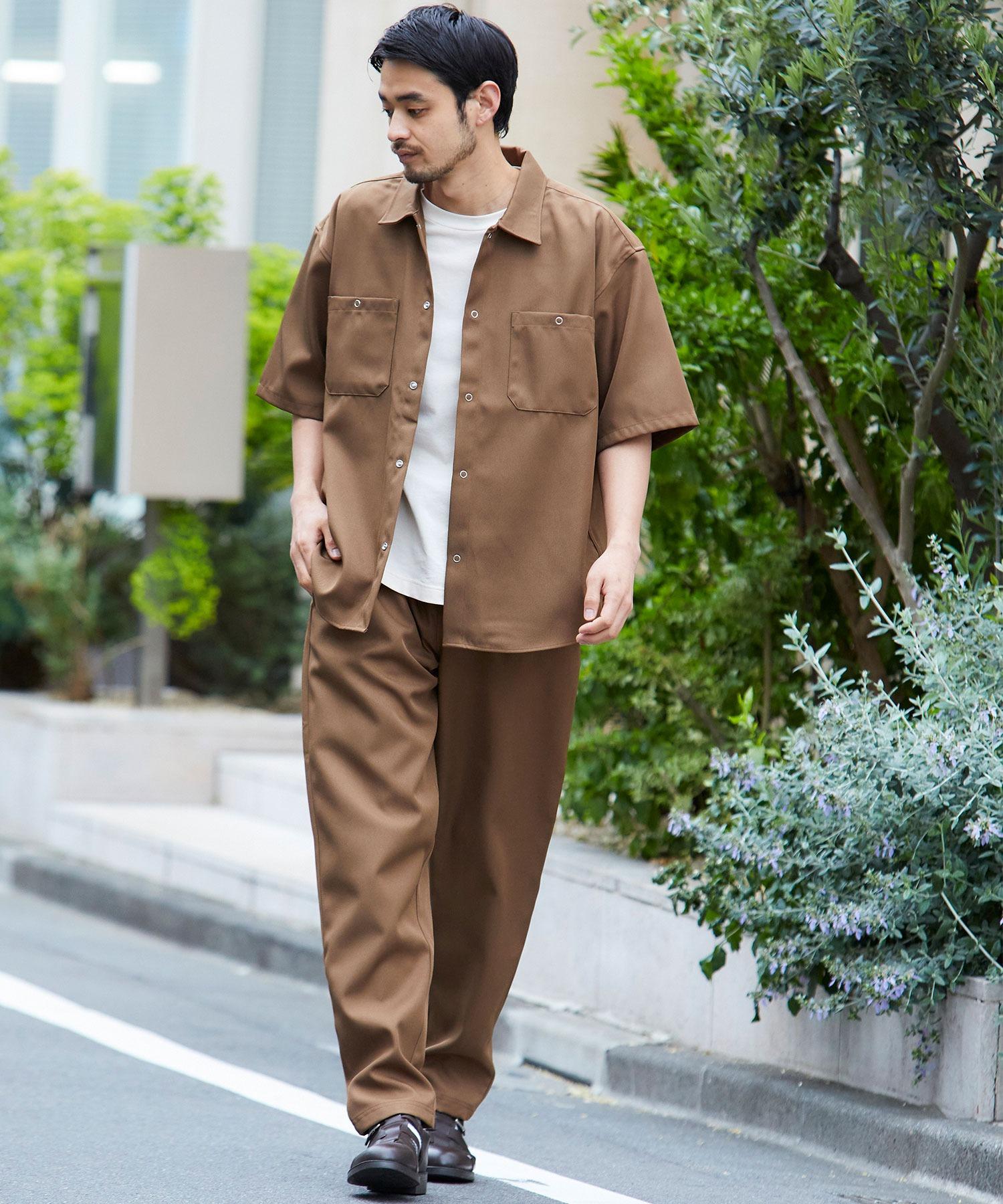 【セットアップ】スタプレ オーバーサイズ半袖ワークシャツ&ワイドテーパードイージーパンツ
