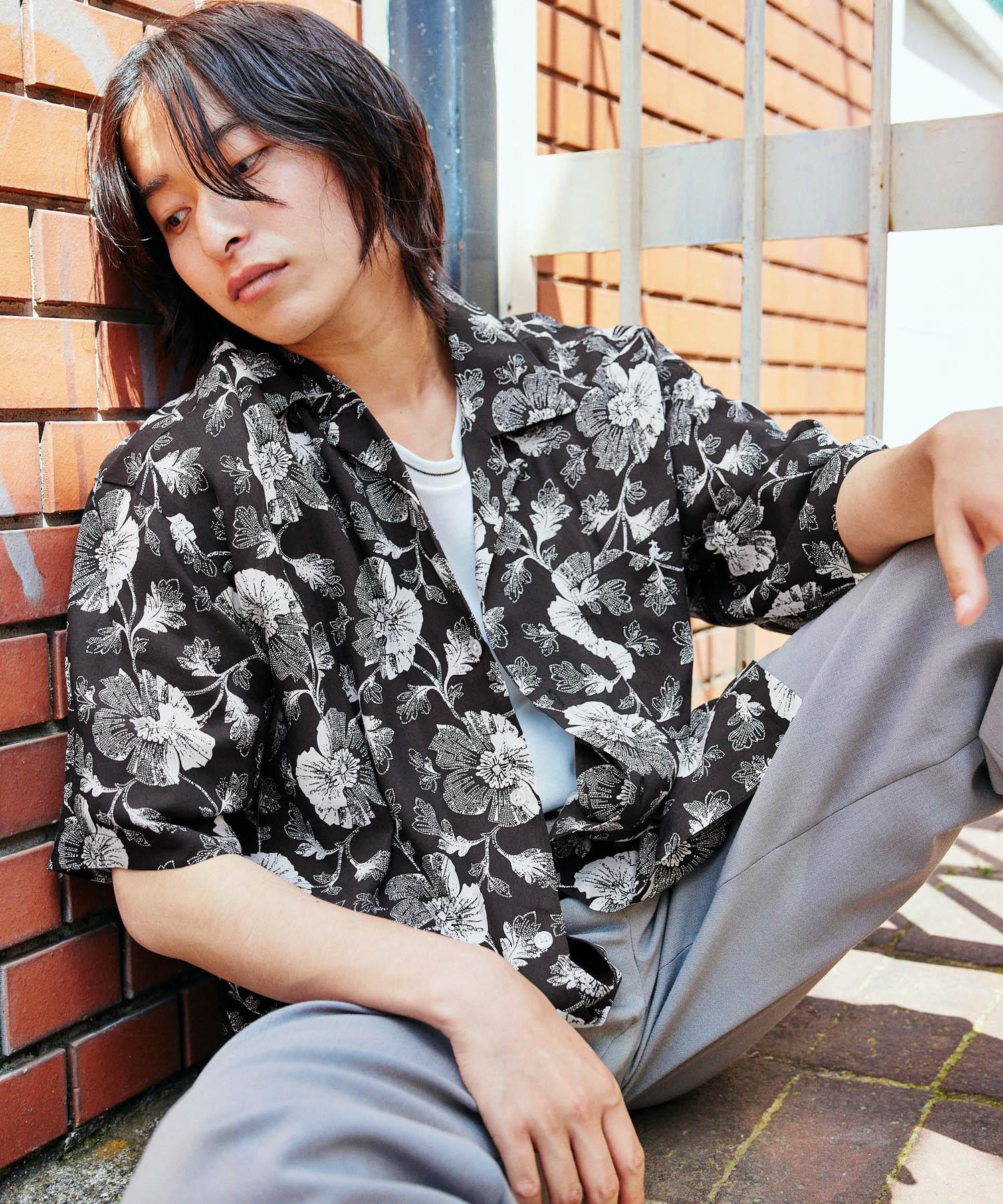 KANGOL/カンゴール 別注 ロゴ刺繍 ビッグシルエット 柄シャツ 総柄 オープンカラーシャツ アロハシャツ 2021SUMMER