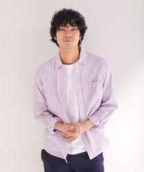 綿麻ストライプレギュラーカラーシャツ