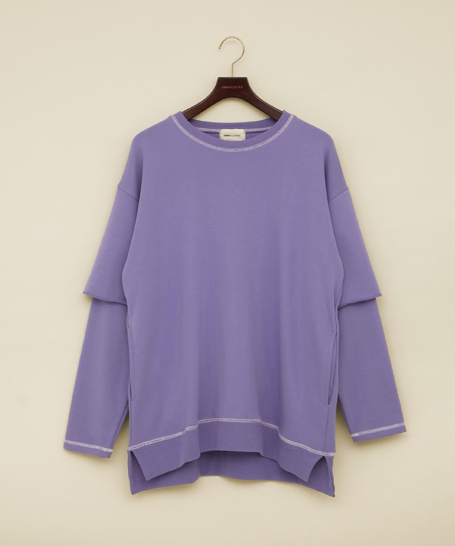 ビッグシルエット杉綾裏毛レイヤードステッチデザインプルオーバースウェット(EMMA CLOTHES)